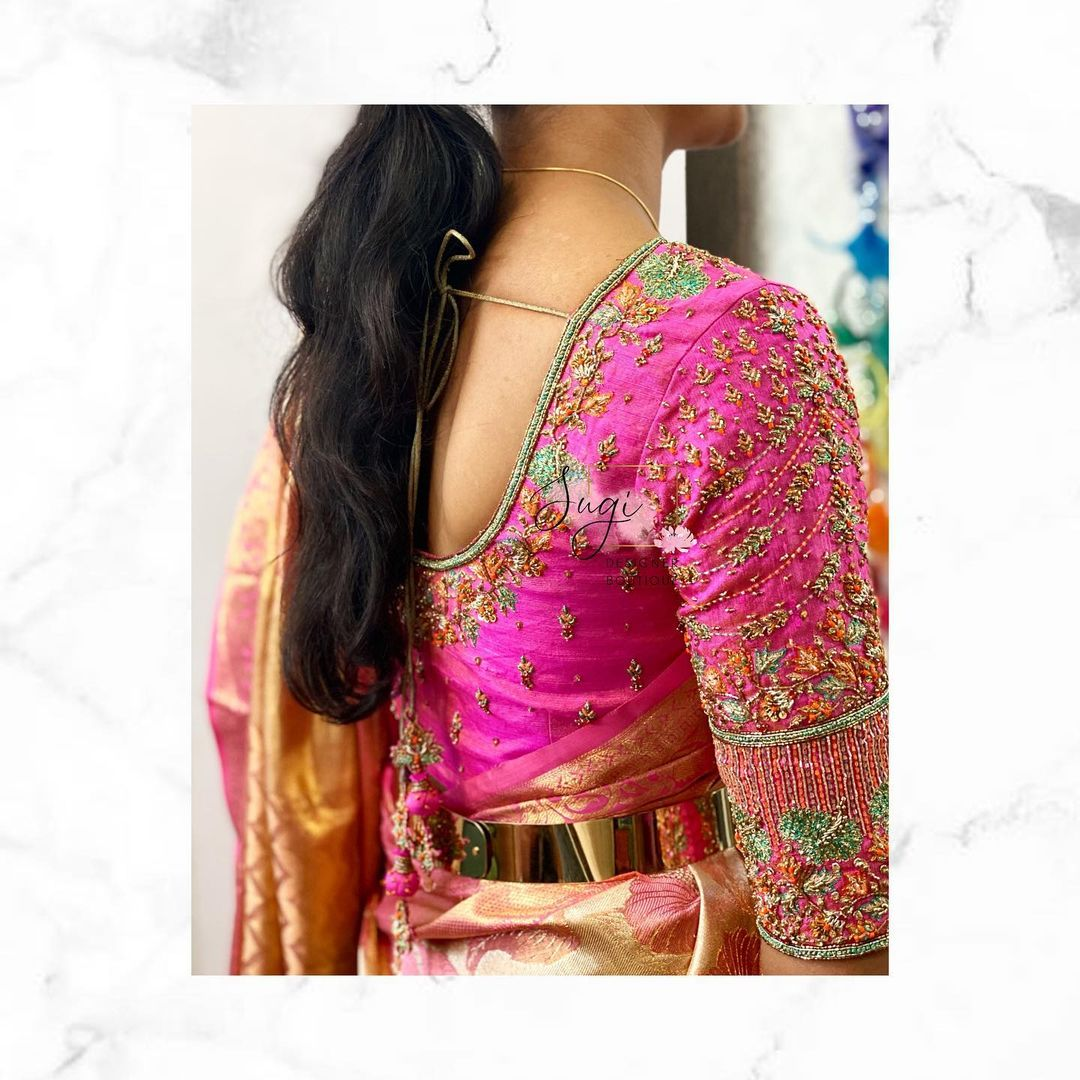 Stunning pink  color designer blouse with floral design hand embroidery aari work on sleeves.  2021-03-19