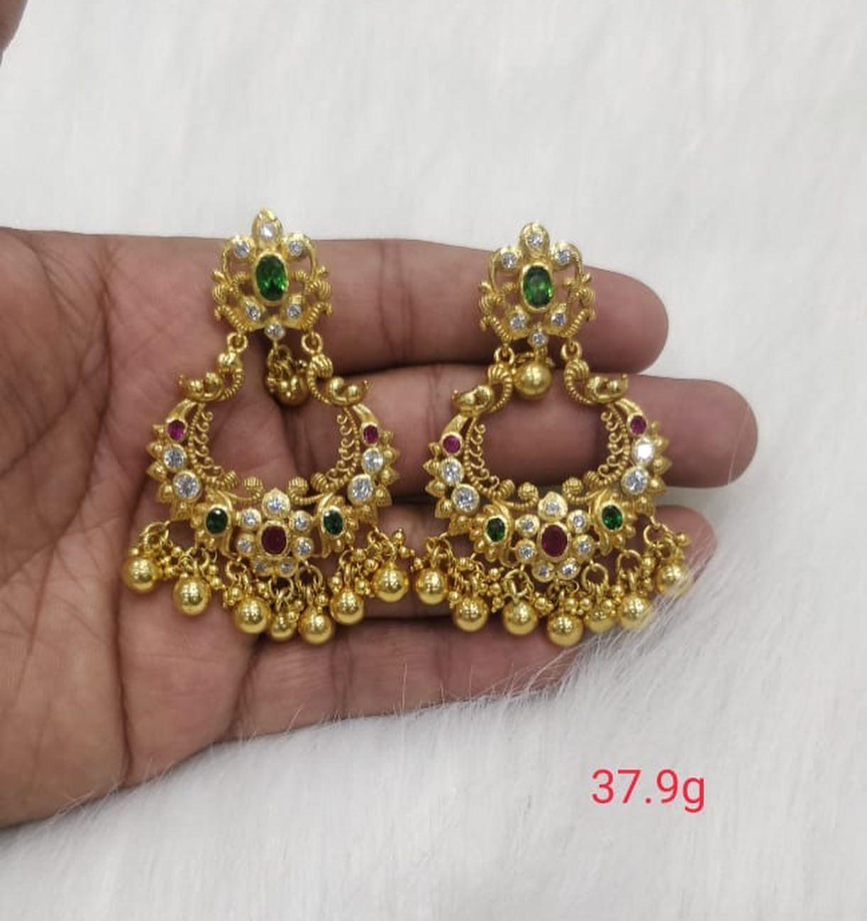 Latest collection of chandbali's & jumkies Shri silver jewellery. Stunning silver chaandbalis with gold polish. 2021-03-20