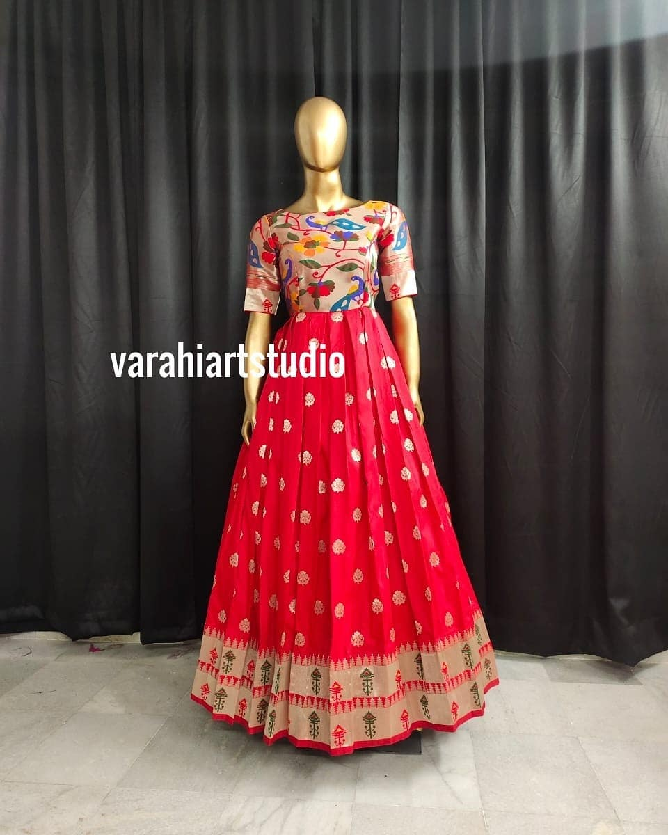 Stunning red color paithani pattu long frock.