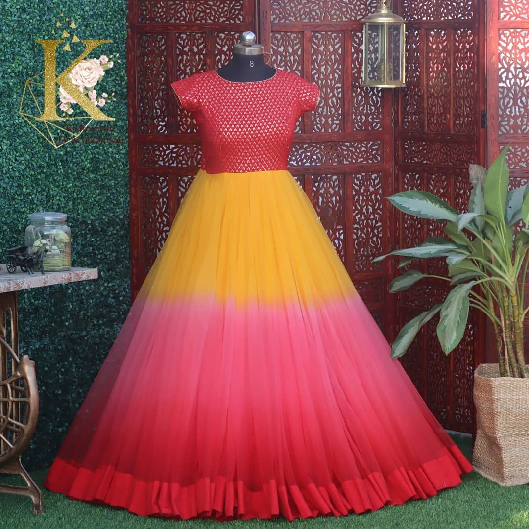 Beautiful multi color umbrella cut floor length dress.  This outfit is Available at Rs 9800/- from house of Kadhambari. <br>  They can customize size as per your requirement. They have international shipping service too. For Orders and Enquiry Reach  on WhatsApp +91 8801876477 // +91 9063479099 2021-03-20