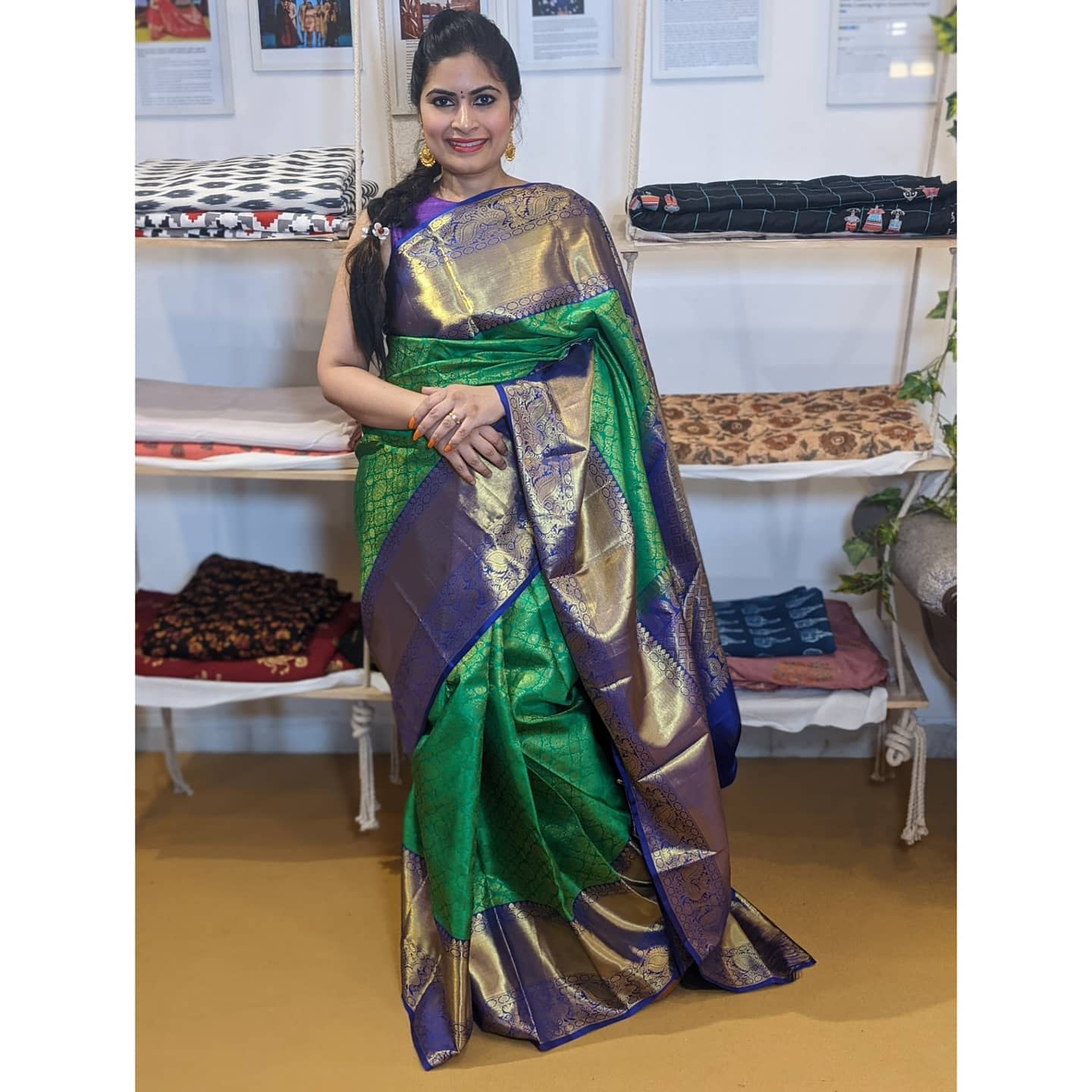 Deepthi Ganesh looks extremely graceful in Kanchipuram Saree collection!   For enquirers/details please Whatsapp on +91-8142420088  2021-03-21