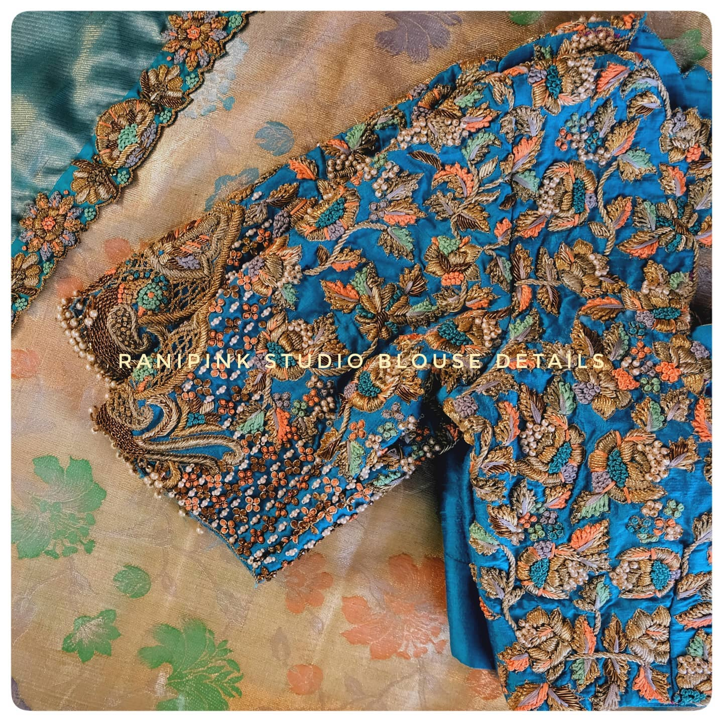 Gorgeous powder blue color designer blouse with flroal and creeper design hand embroidery thread and bead 3D maggam work.  2021-03-21