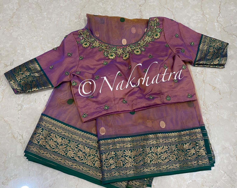 Dual tone Chanderi katan organza silk saree paired with handwork blouse. 2021-03-21