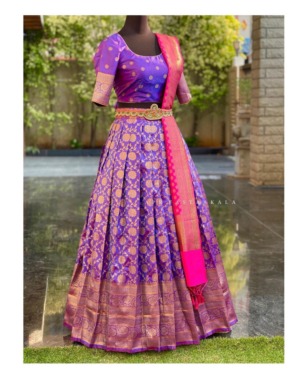 Gorgeous purple color kanchi pattu  langa and blouse with kanchi pattu dupatta and waist belt. Simple yet trendy designs for small intimate ceremonies call/whatsapp  on 8951239449. 2021-03-21