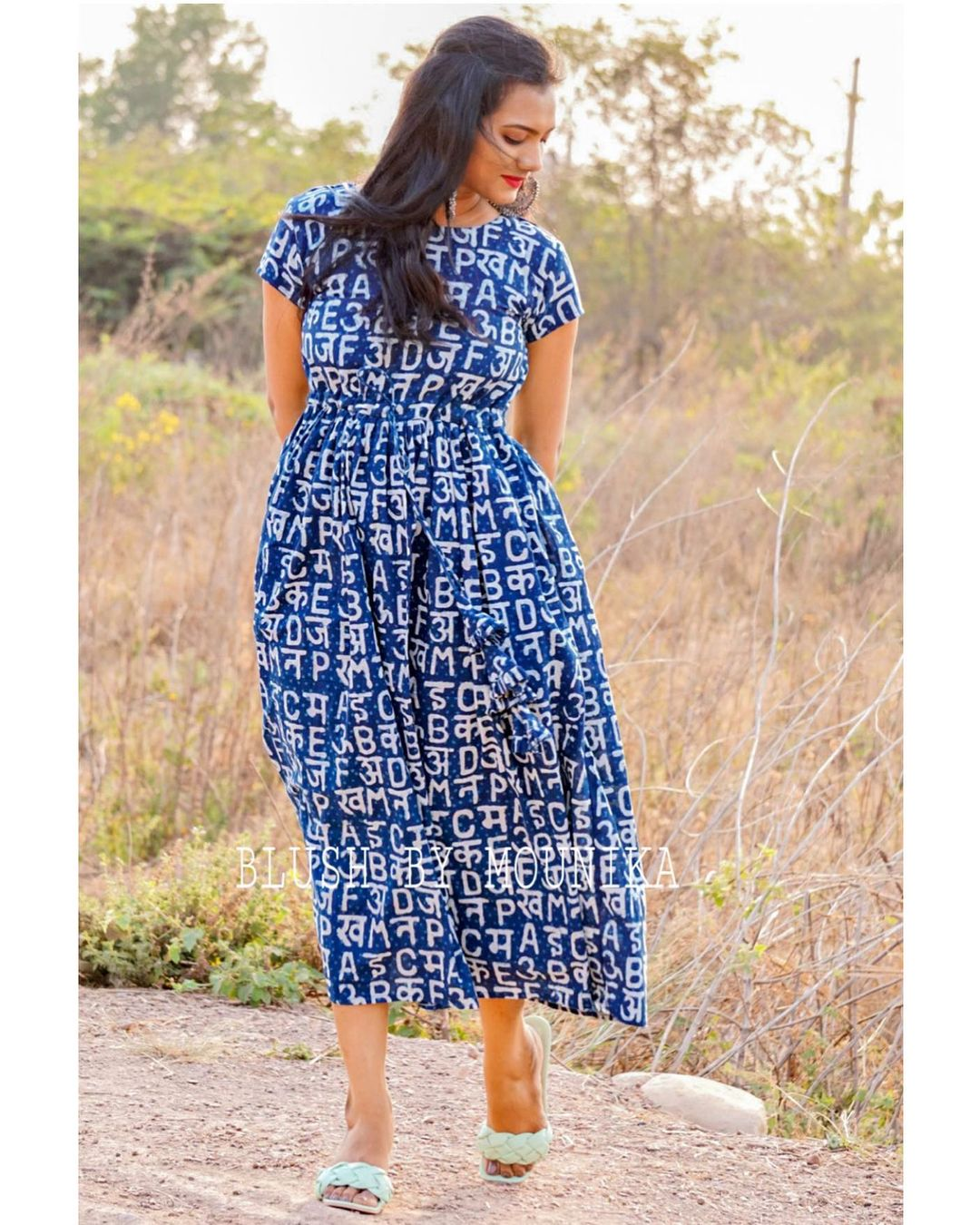 Beautiful Indigo blue Midi Dress with letter print. 2021-03-22