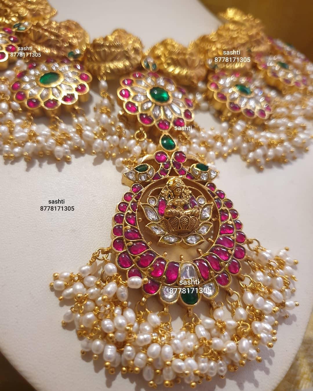 Gorgeous silver Lakshmi ji  guttapusalu necklace with gold polish and matching earrings. 2021-03-23