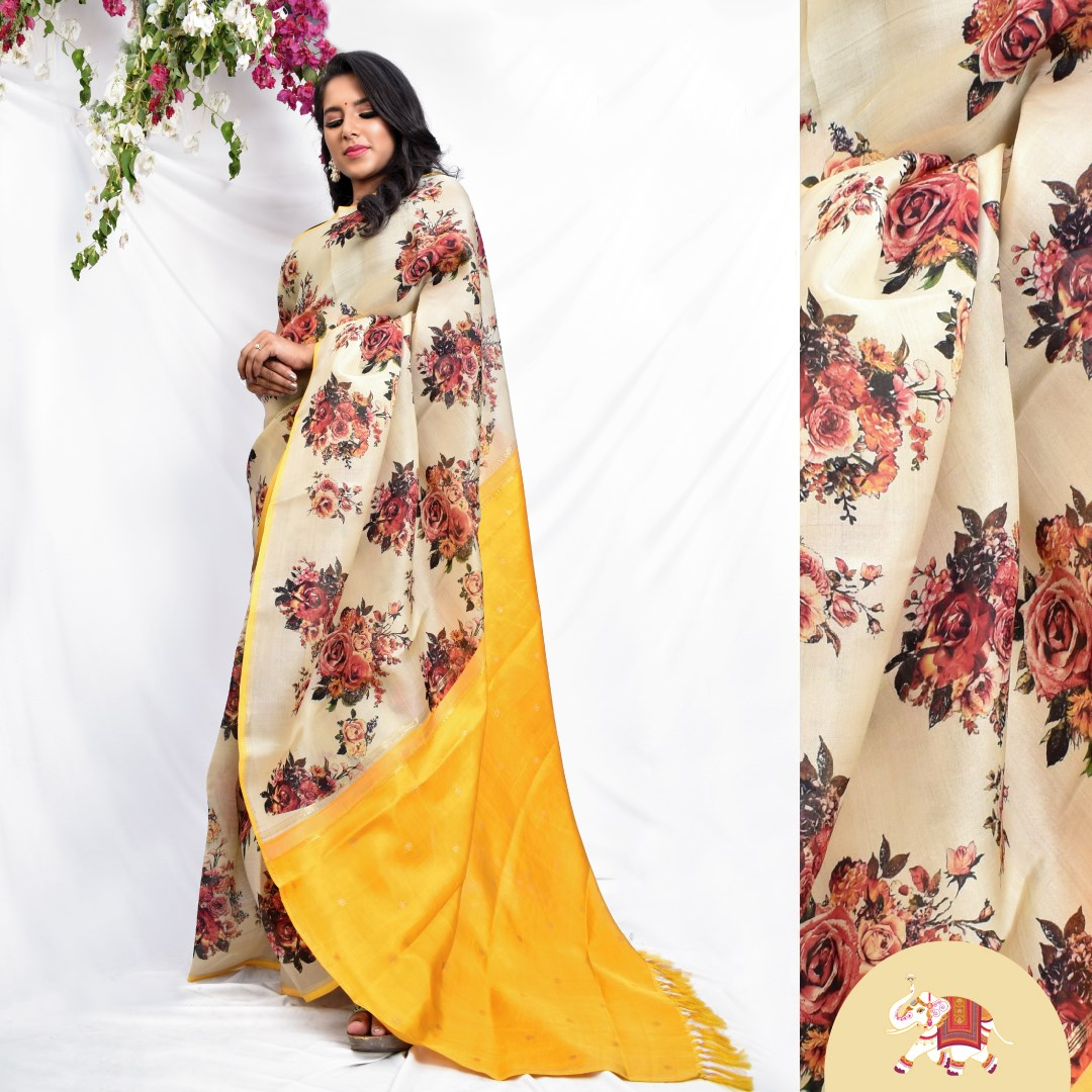 Digitally printed floral motifs in off-white Kanchi silk organza saree showcasing our breezy summer color palette! 2021-03-23