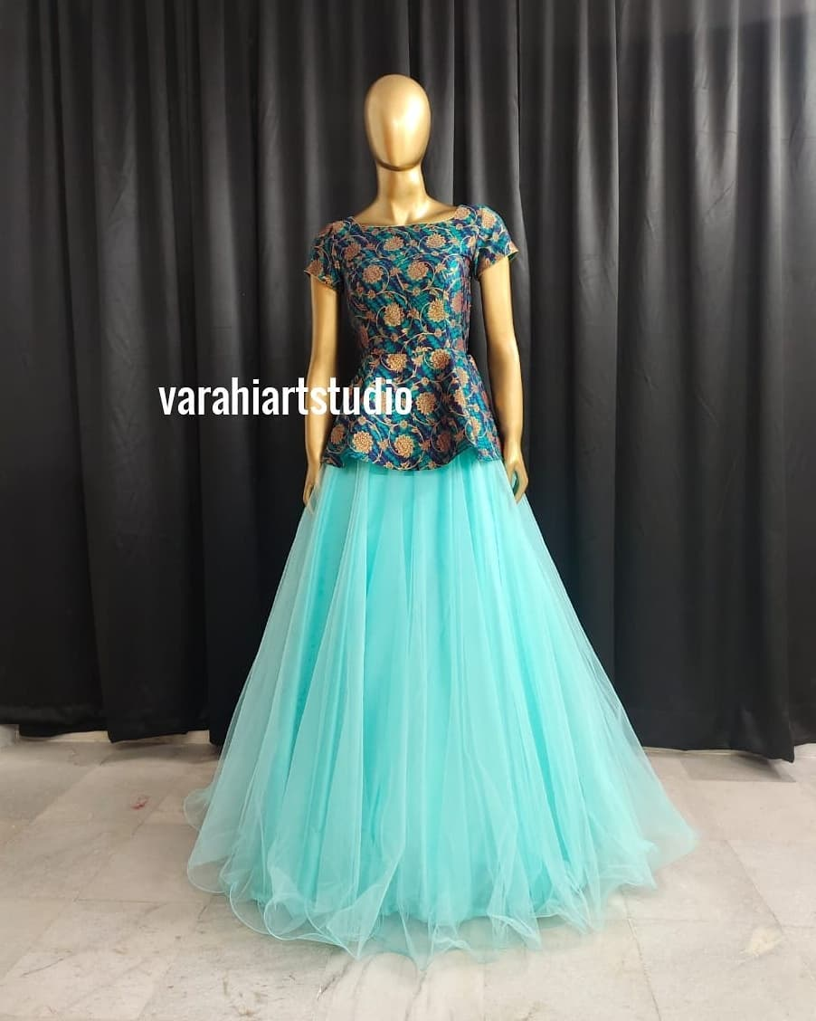 Gorgeous sea green color tulle skirt and peplum top.