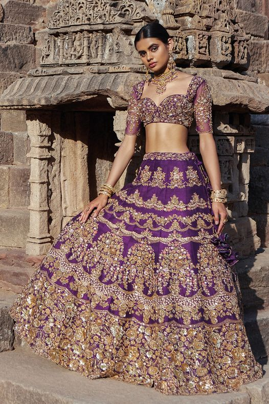 Stunning purple color bridal lehenga and blouse with hand embroidery zardosi work.  2021-03-24