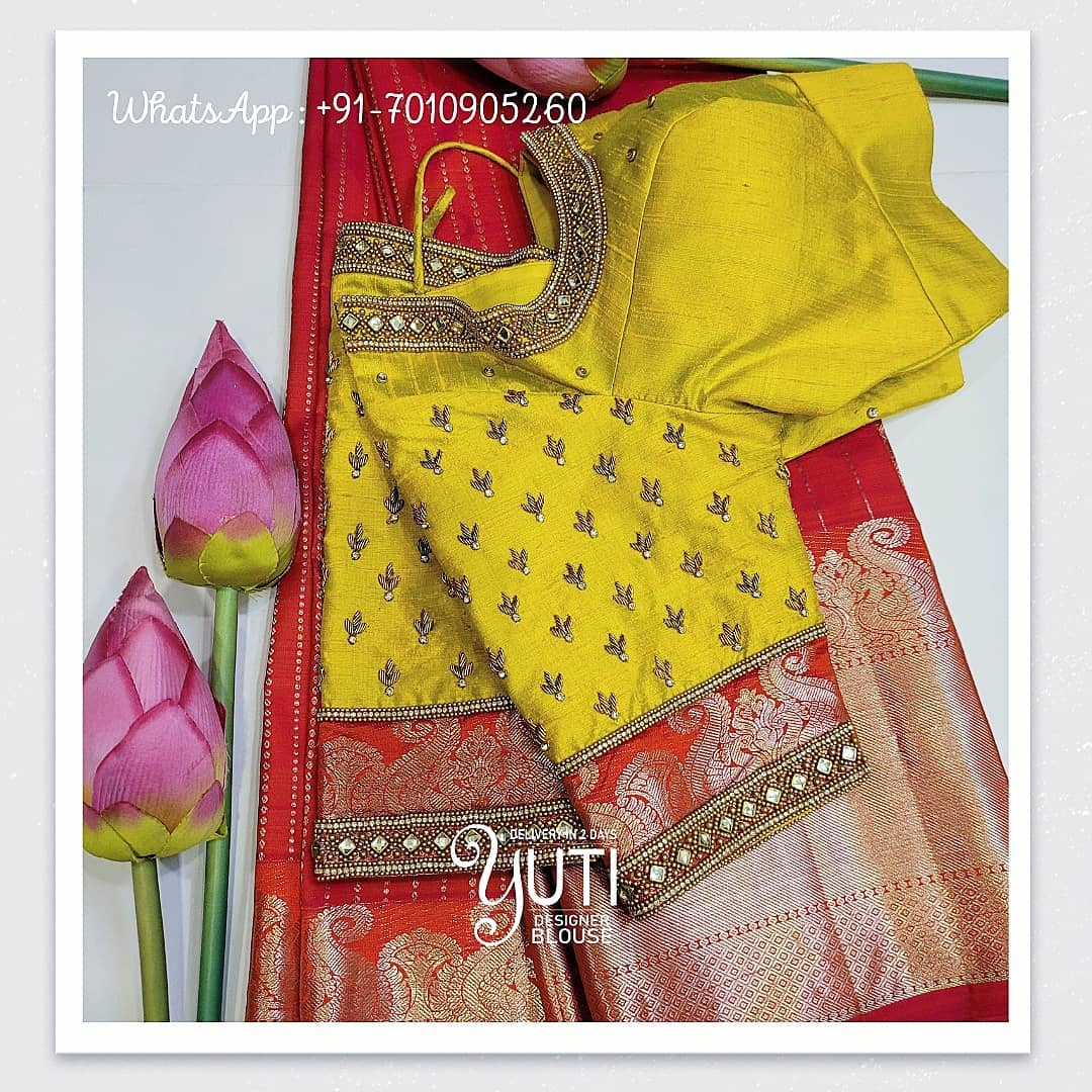 Gorgeous yellow color raw silk blouse with glass bead and gold thread aari work on neckline and sleeves. 2021-03-24