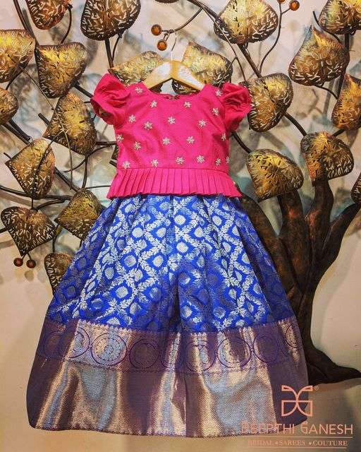 Cute Kanchipattu Lehenga for kids from Deepthi Ganesh. 2021-03-25