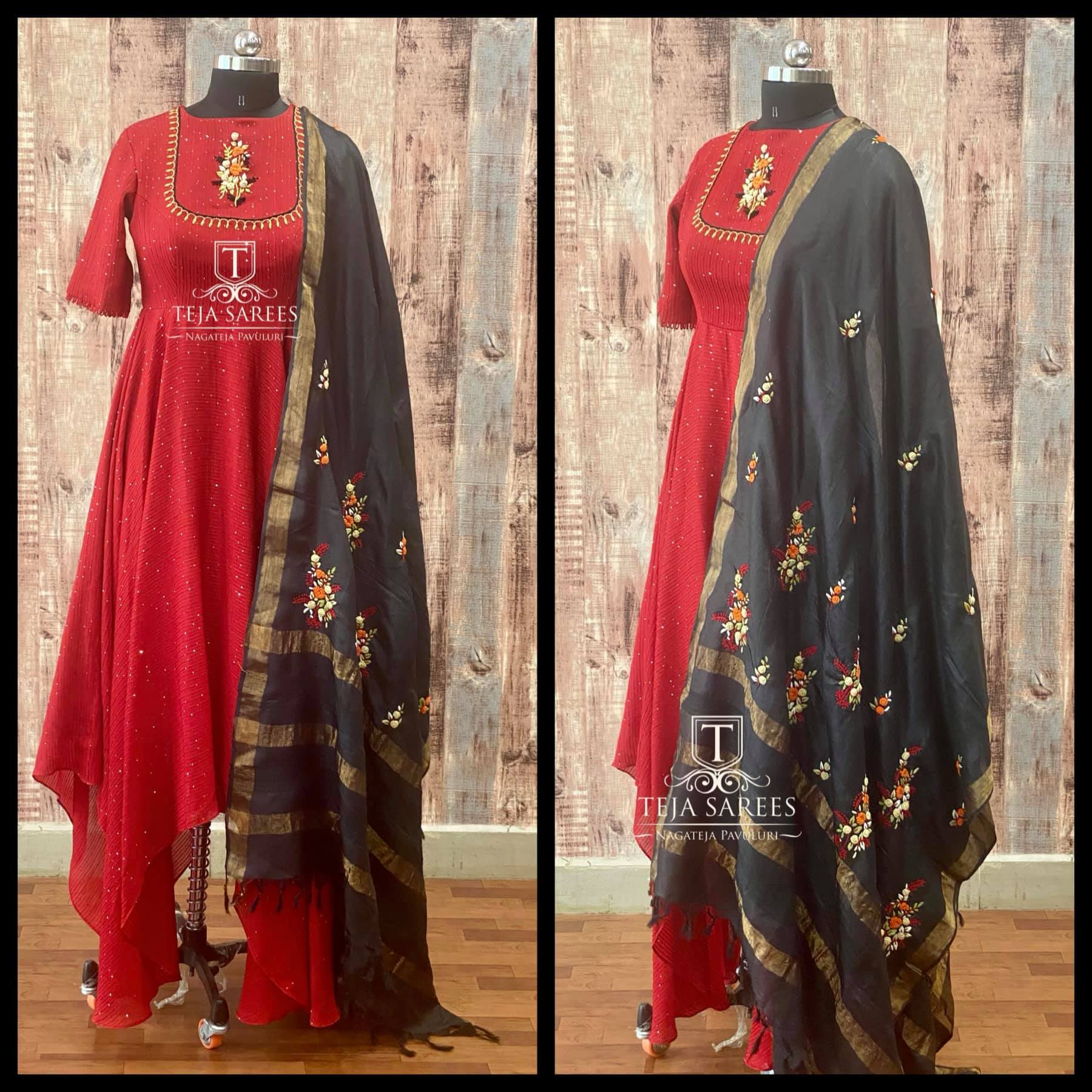 TS-DS- 714. Gorgeous red color high low or asymmetric dress with black dupatta. Available For orders/queries Call/ what's app  on 8341382382 or Mail  tejasarees@yahoo.com 2021-03-25