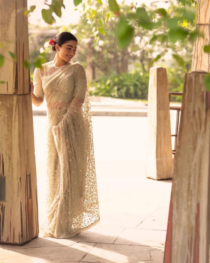 Beautiful actress Rashmika Mandanna in off white tulle saree. Outfit- Pernia's Pop-Up Shop. Jewellery- Kiara Jewelry. Styled- Geetika Chadha. Makeup- Vaishnavi Singh. Hair- Madhu Chakrapu. Clicked- BalaKumaran . 2021-03-26