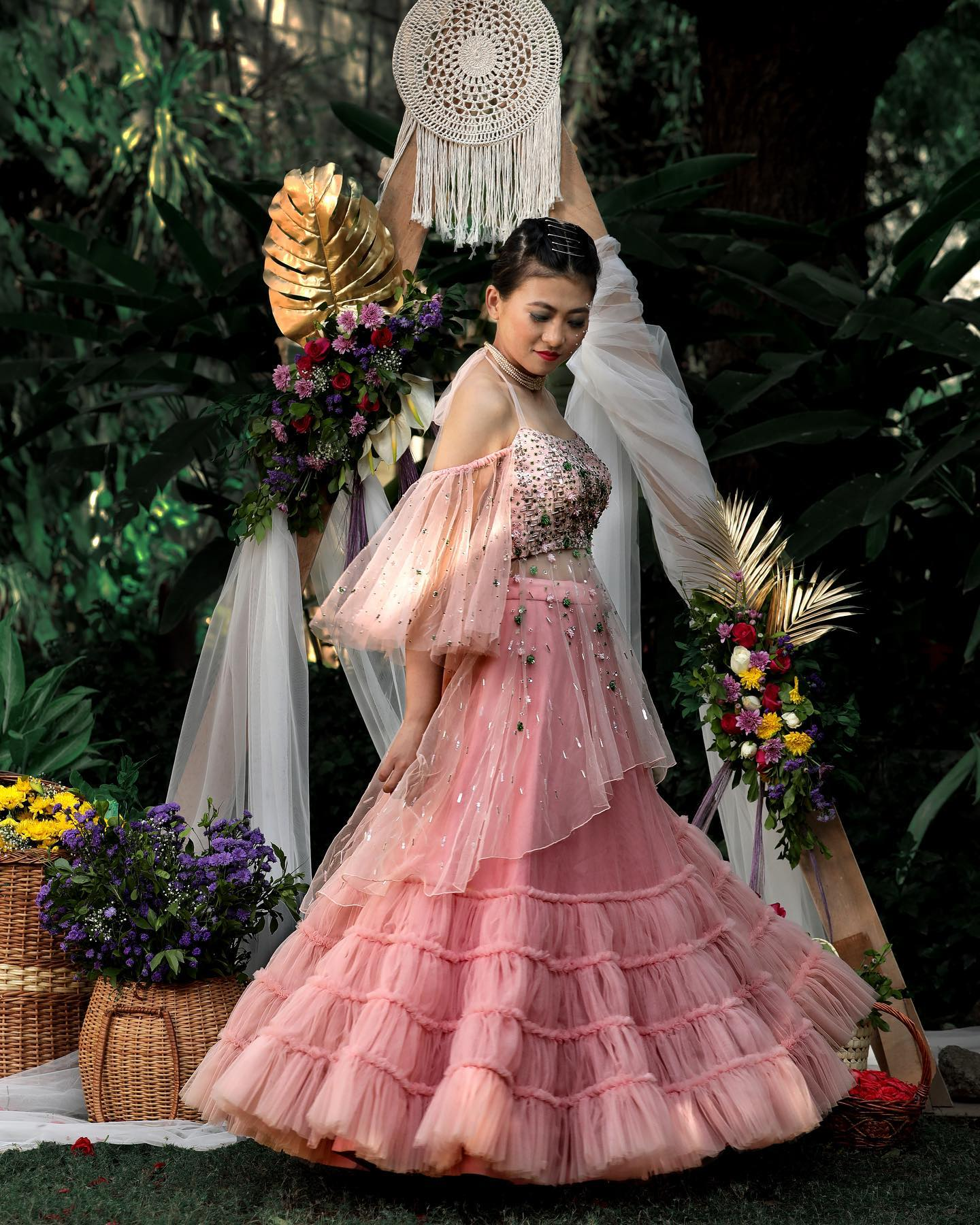 An ethereal exquisite couture mesmerised with the details of the gorgeous pastel hues in sophisticated styles intricate patterns in flary silhouettes blending perfectly with flowy net fabrics with luxury contemporary cuts and pastel embroidered floral motifs. A perfect contemporary collective for a wedding events. 2021-03-26