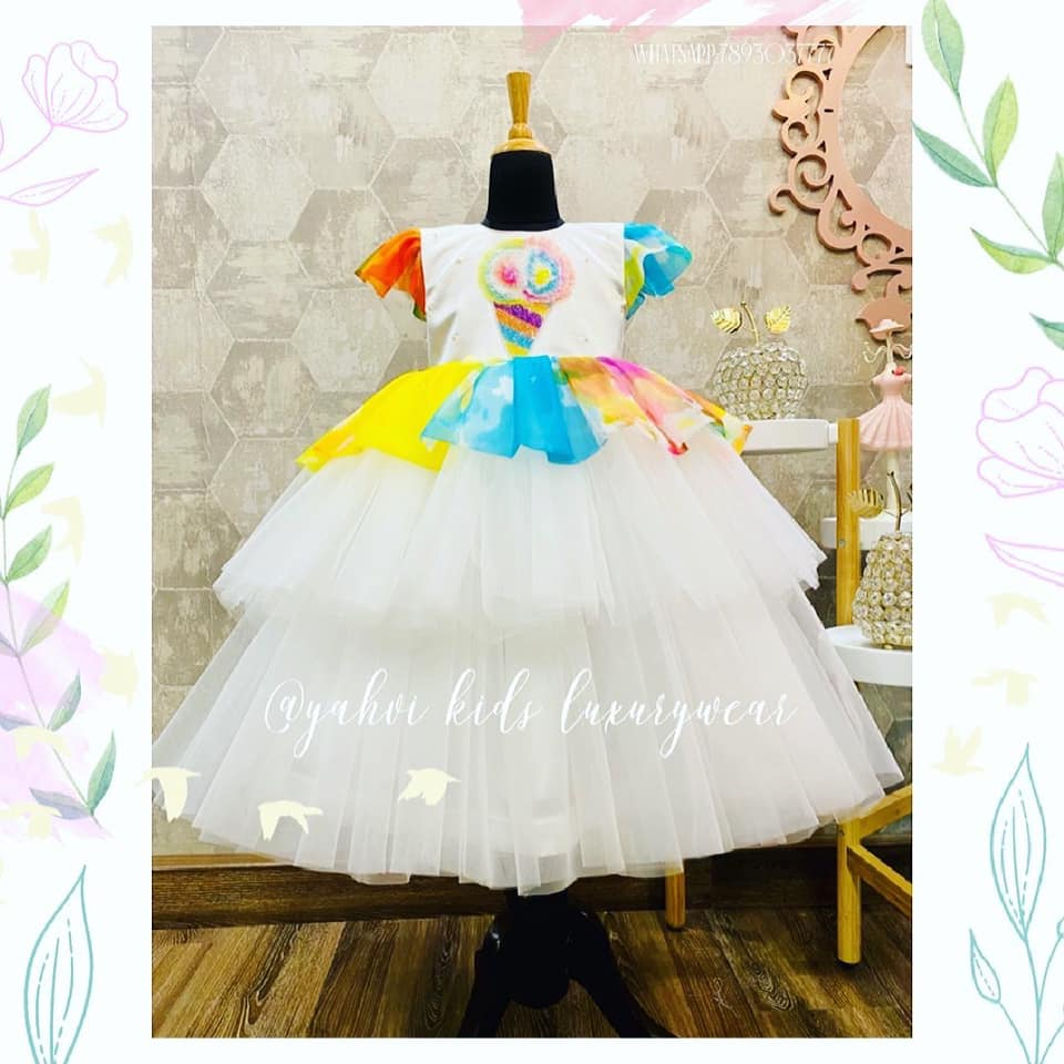 Customised this icecream frock for 4 year old birthday . Love this multi colour spread which reminds me of rainbow  theme . Yes of course they can do rainbow theme in this pattern .  Get in touch with  for customised birthday outfit for your little girl   For orders : DM or whatsapp 7893037777 2021-03-26