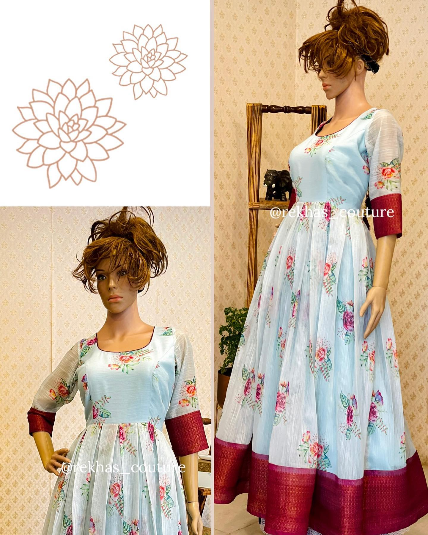 Stunning sky blue color pattu long frock with floral print and elbow length sleeves. 2021-03-26