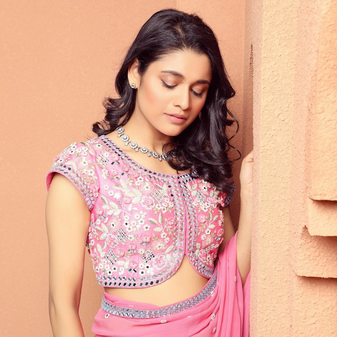Stunning blush pink color designer saree and blouse. Blouse with floral design hand embroidery classy work.  2021-03-26