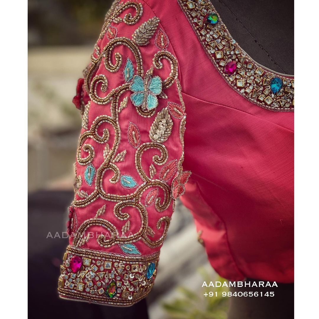 Gorgeous butterfly designer blouse with floret lata design hand embroidery glass bead aari work.  2021-03-26