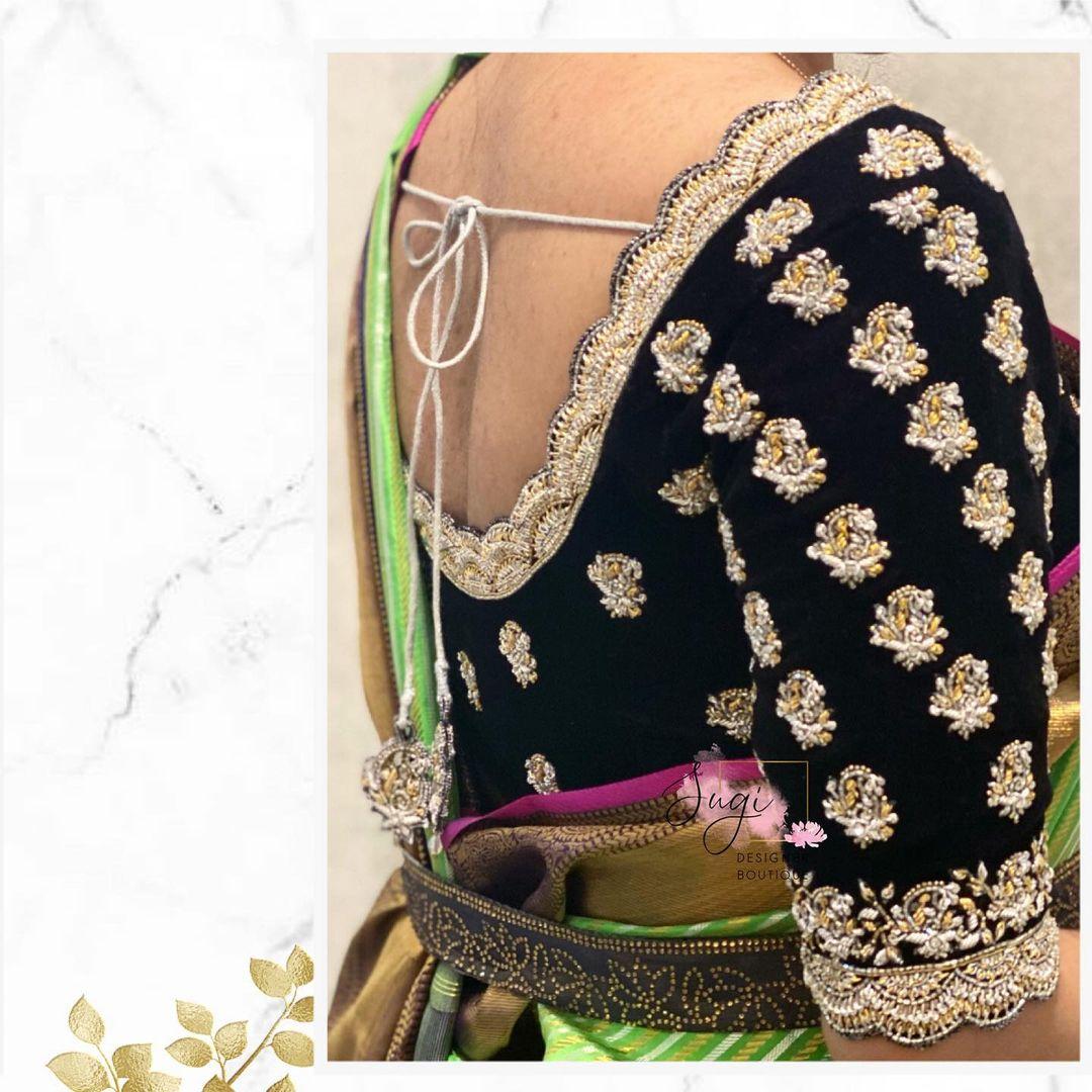 Gorgeous black velvet designer blouse with floral design hand embroidery thread aari work.  2021-03-27