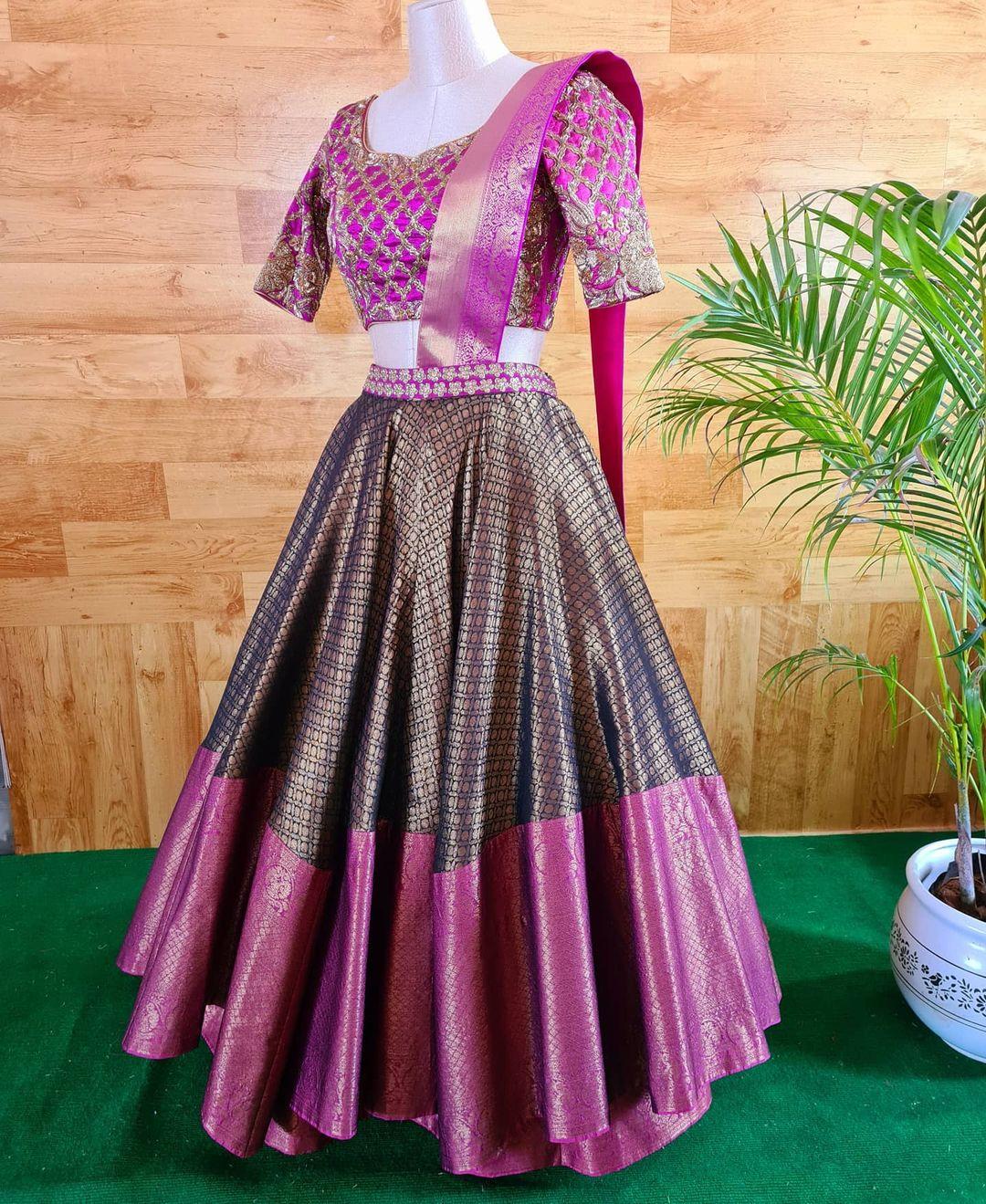 Stunning black and pink color combination kora silk pattu lehenga and blouse with pattu dupatta.  2021-03-27