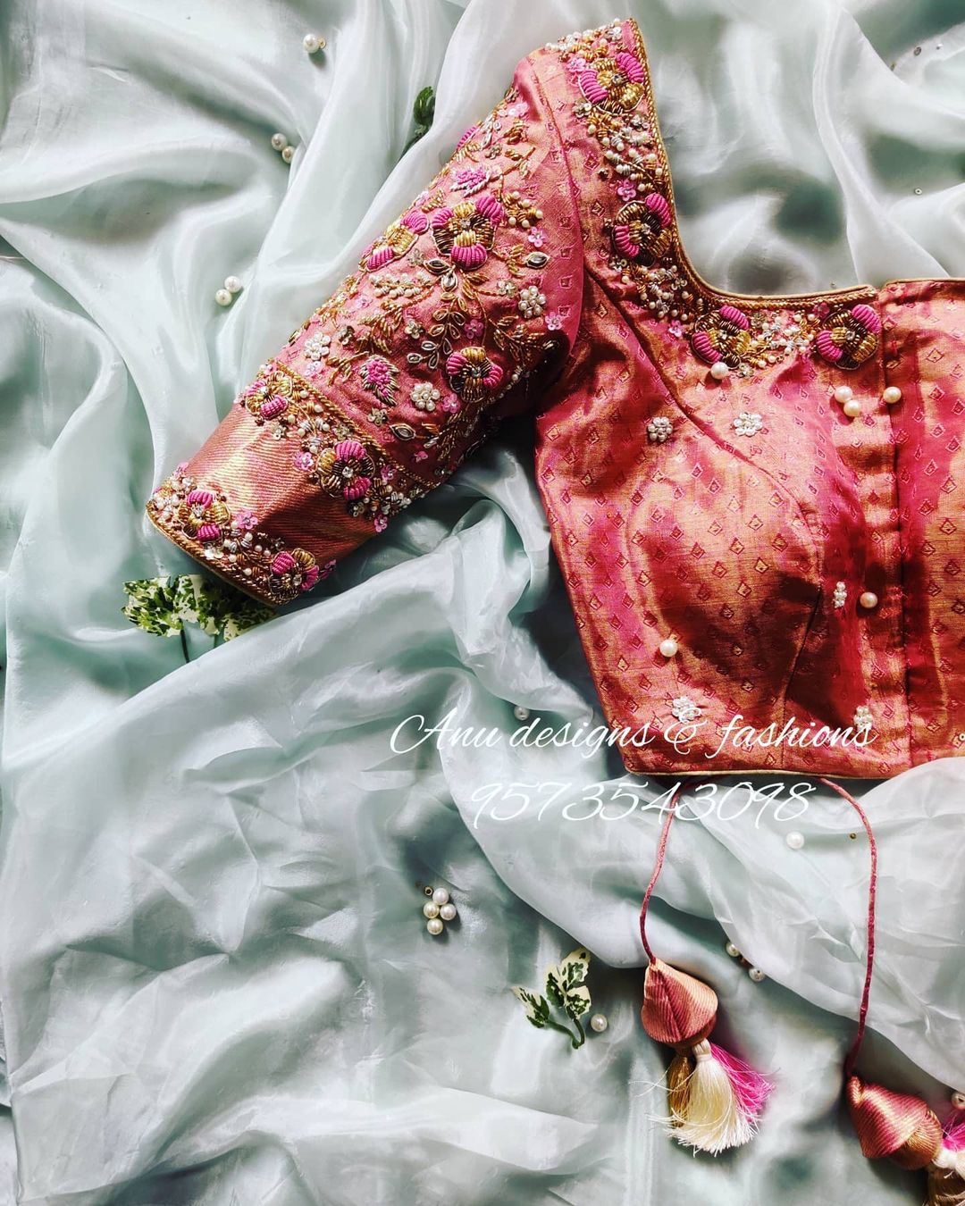 Gorgeous pinkish bridal brocade blouse with floral 3D maggam work. 2021-03-28