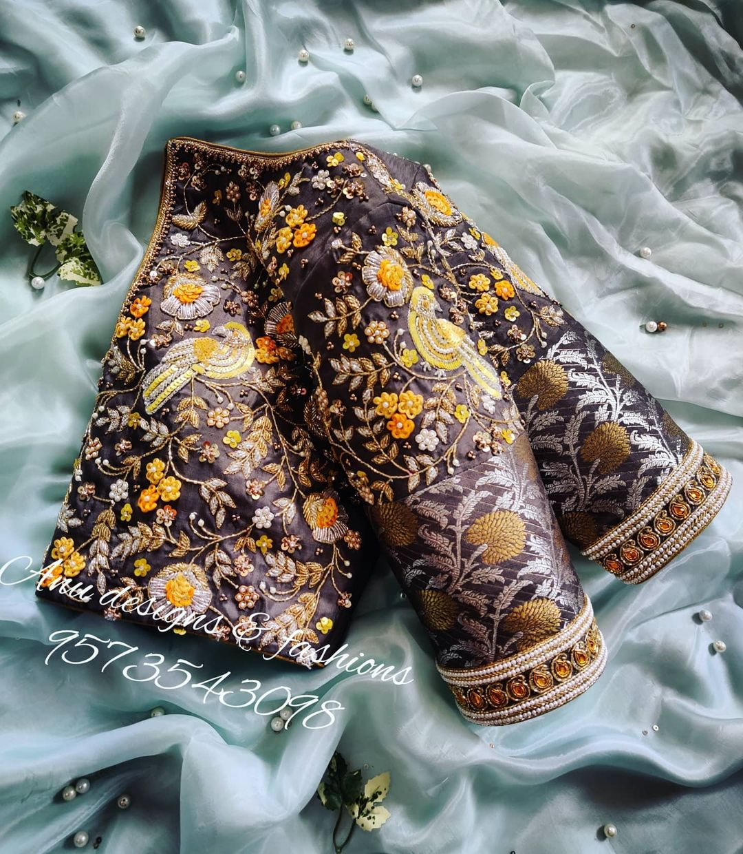 Gorgeous gray color key hole blouse with floral and birds design hand embroidery 3D yellow thread maggam work.  2021-03-28