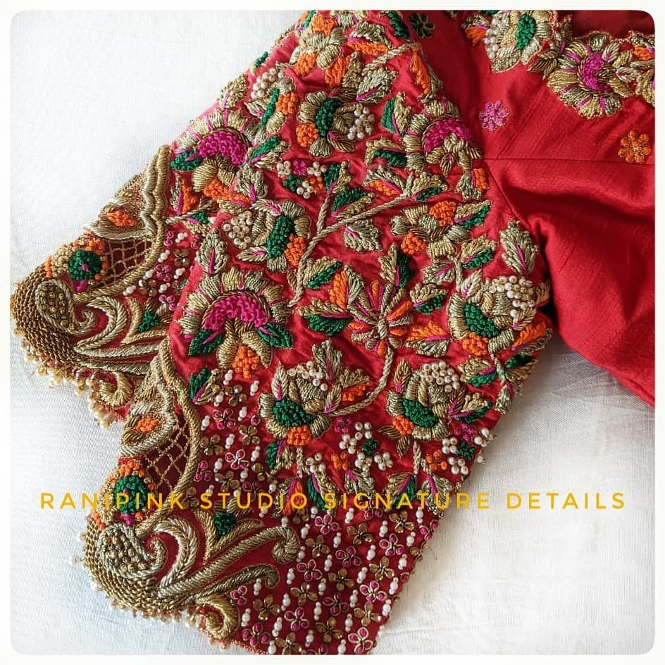 Stunning bridal blouse with heavy floral design hand embroidery thread maggam work.  Rani Pink Studio Signature Details. For appointments call or whatapp  at 8884620620 2021-03-29