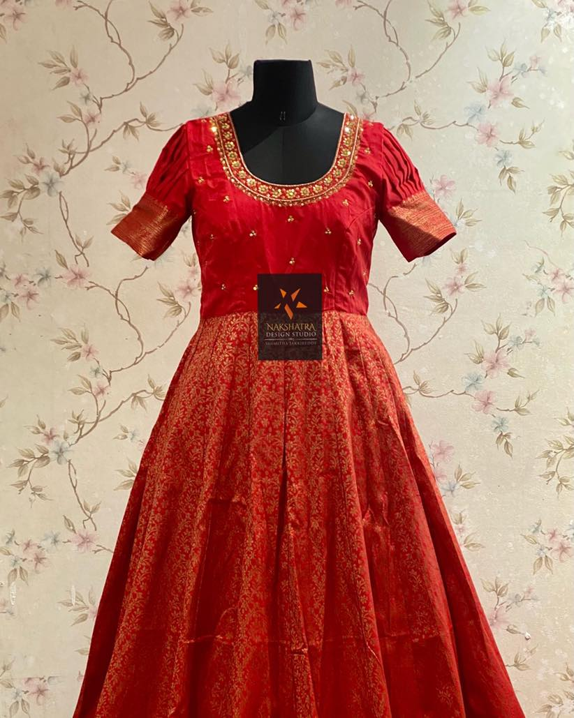 Red color Silk long frock with handwork yoke beautiful antique finish jaal weaving allover and stunning borders. 