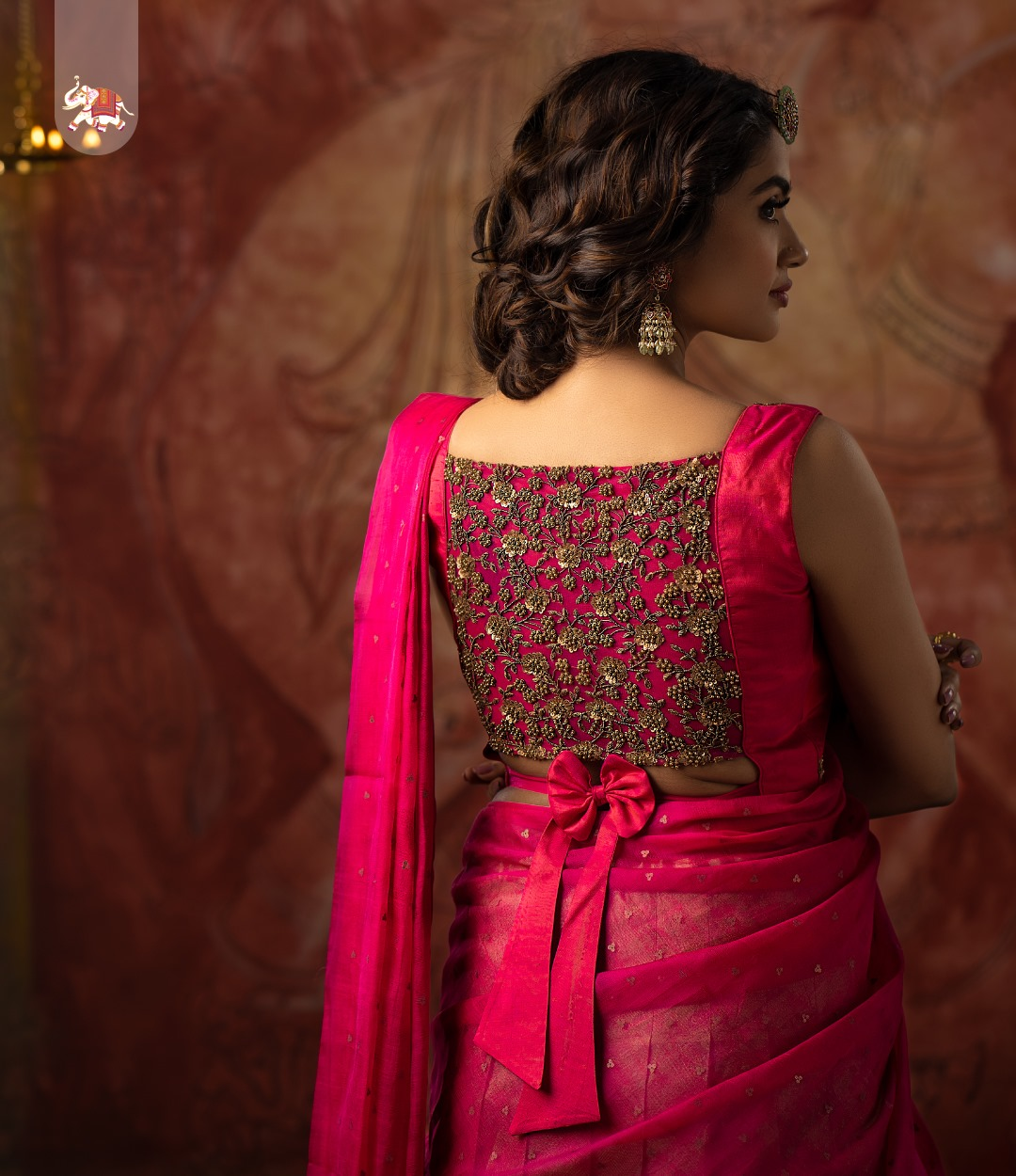 Gorgeous zardozi embellished pink Kanchi silk blouse. 2021-03-30