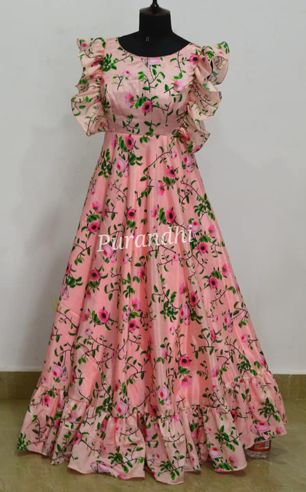 Stunning blush pink color floral floor length dress with ruffle sleeves. Customized floral outfit. Price : 5800/- To order contact us on whatsapp : 9701673187. 2021-03-31