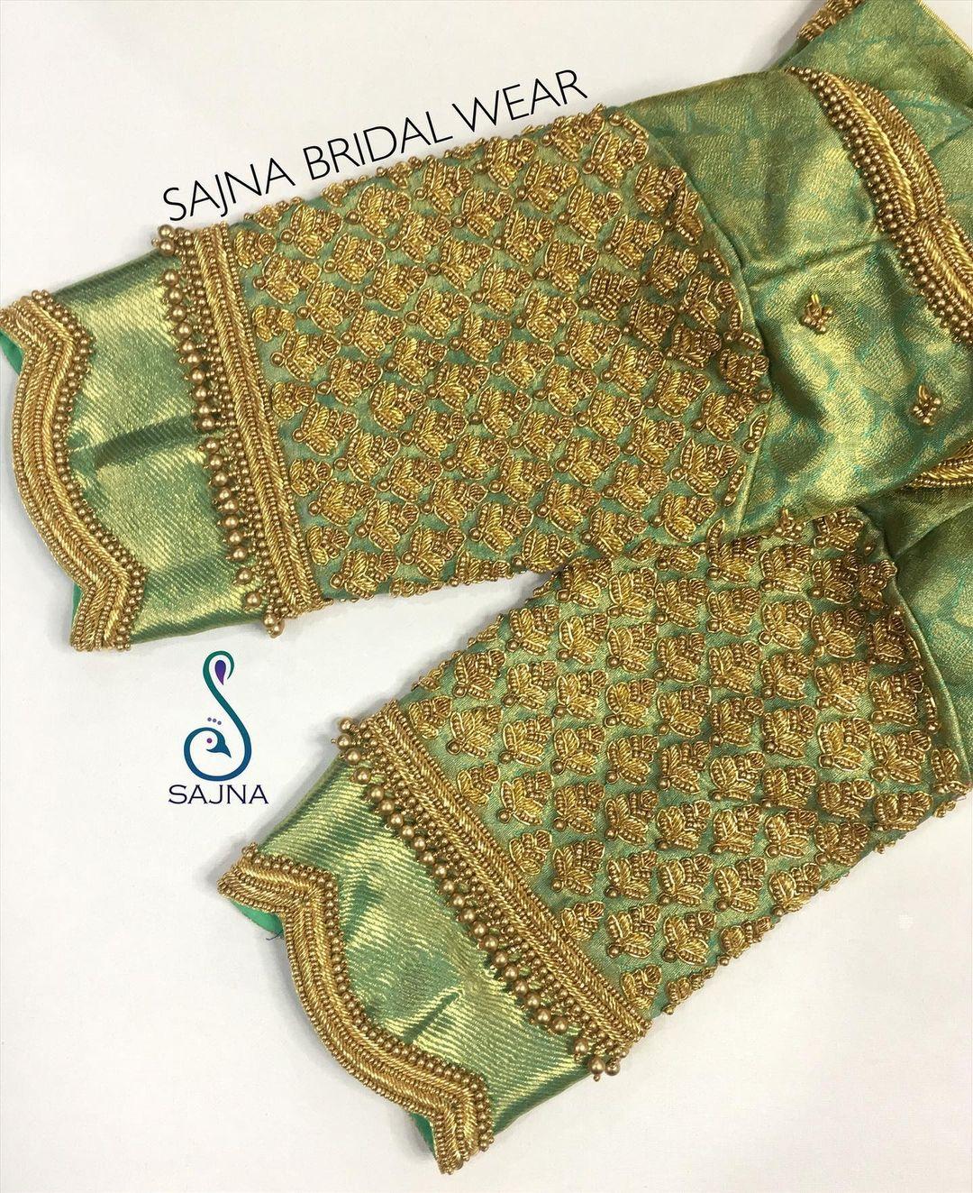 Beautiful olive green color brocade blouse sleeves with floral design bead aari work.  2021-03-31