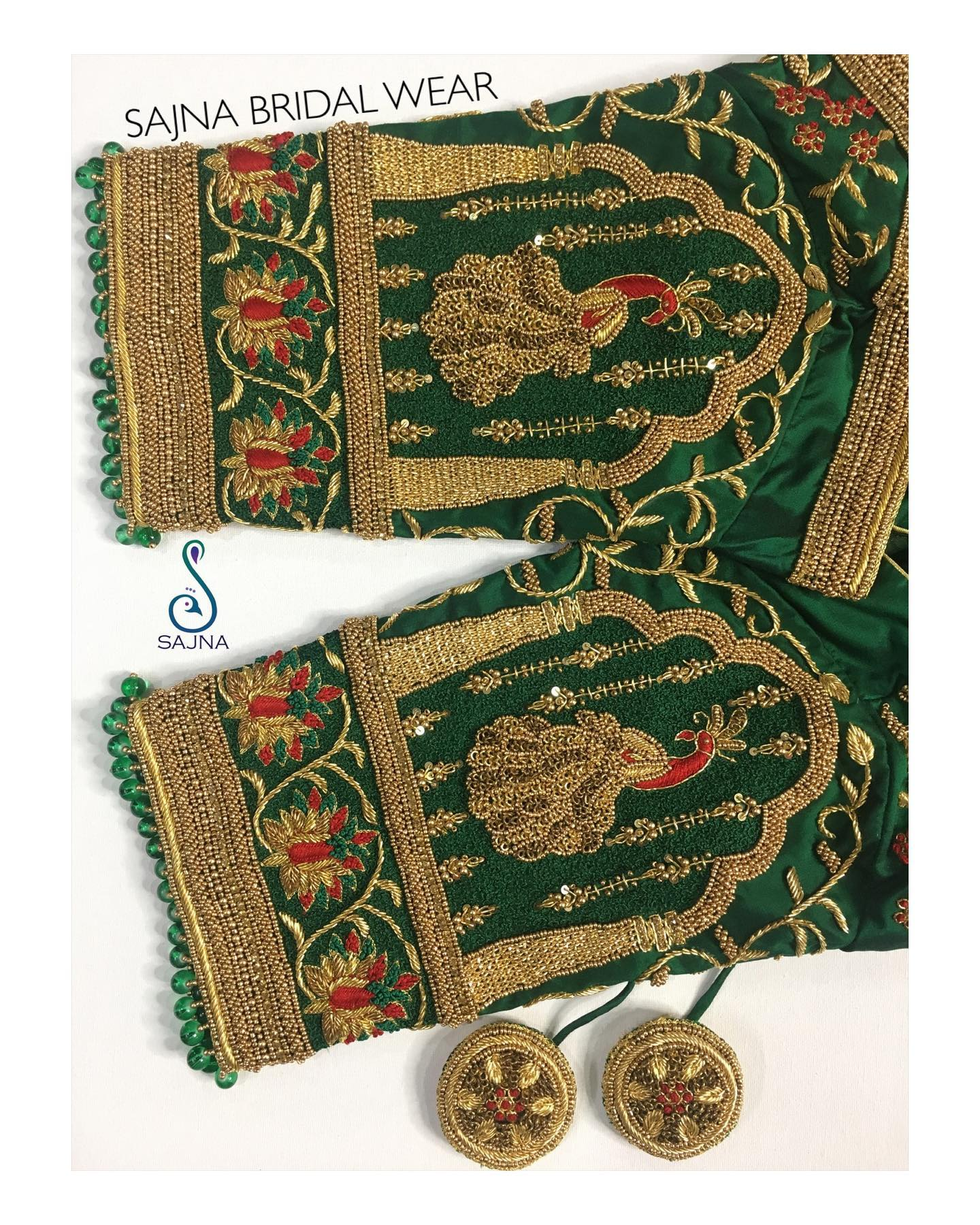 Gorgeous leaf green color designer blouse sleeve with peacock design hand embroidery aari work.  2021-04-01