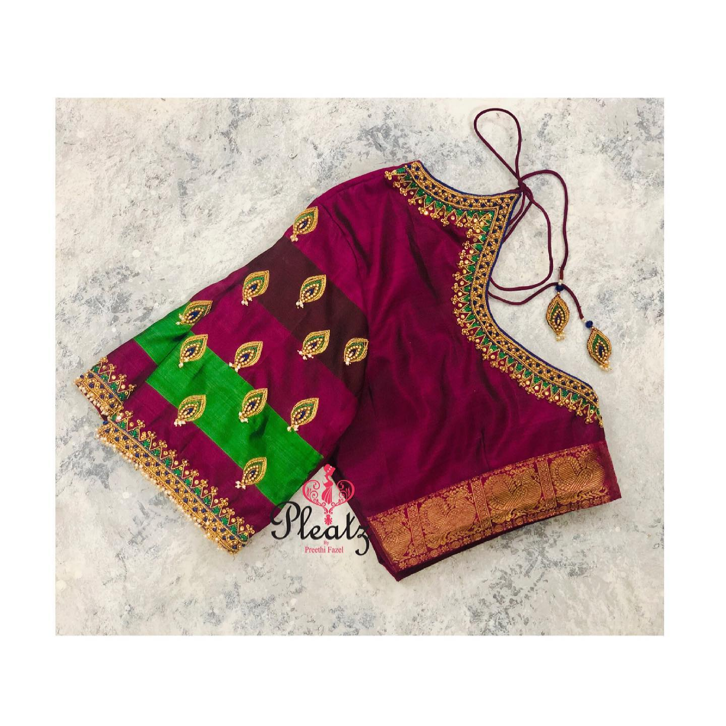 Perfect combination of colours. Embroidery blouses for parties and other occasions. Stunning purple and green color combination designer blouse with hand embroidery bead aari work.  2021-04-01