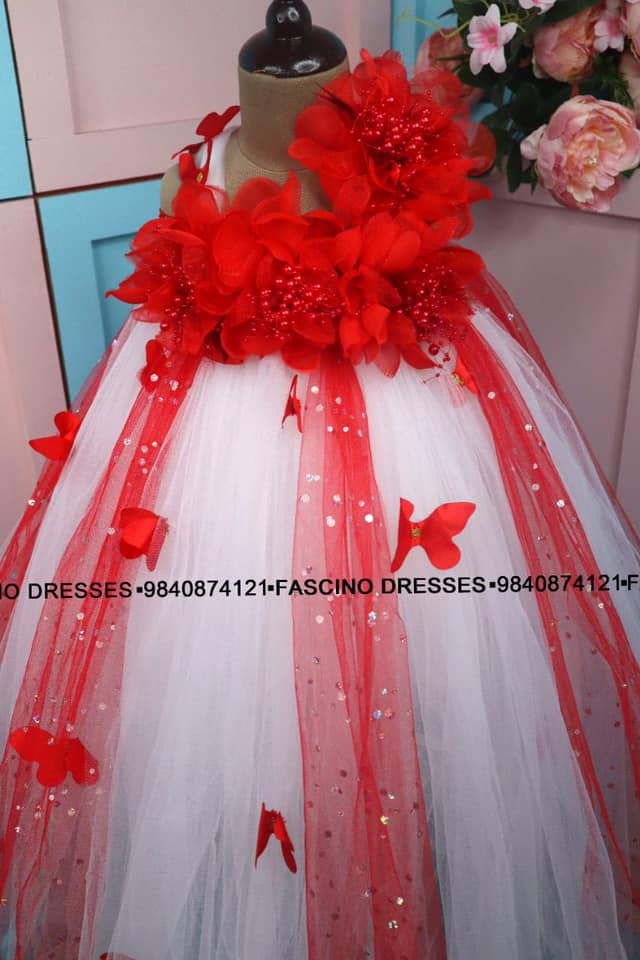 Red with white tutu  by fascino. Beautiful red and white color combination kids floral gown. 