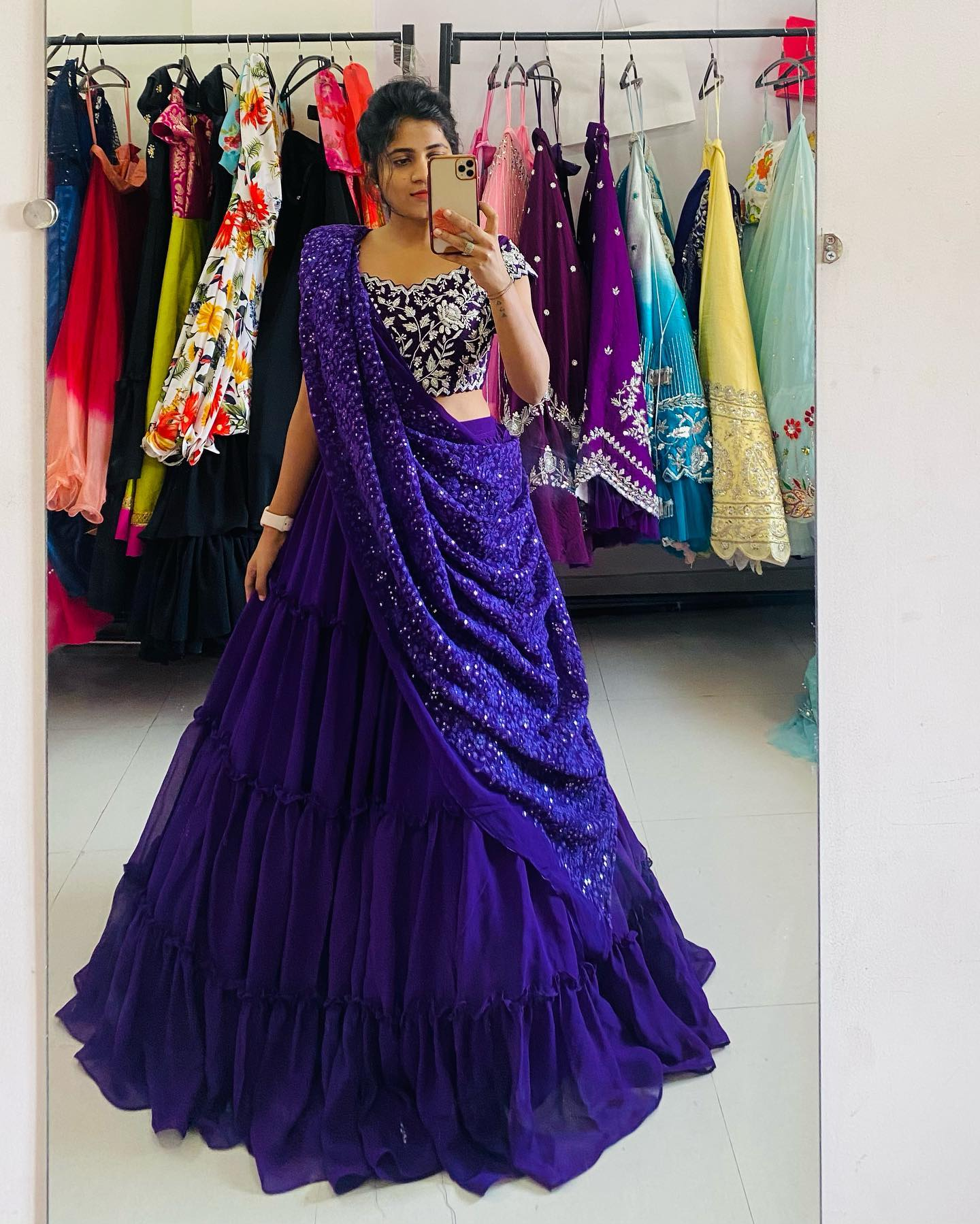 Stunning blue color umbrella cut pleated lehenga and blouse with sequin dupatta. Blouse with classy hand embroidery work.  2021-04-01