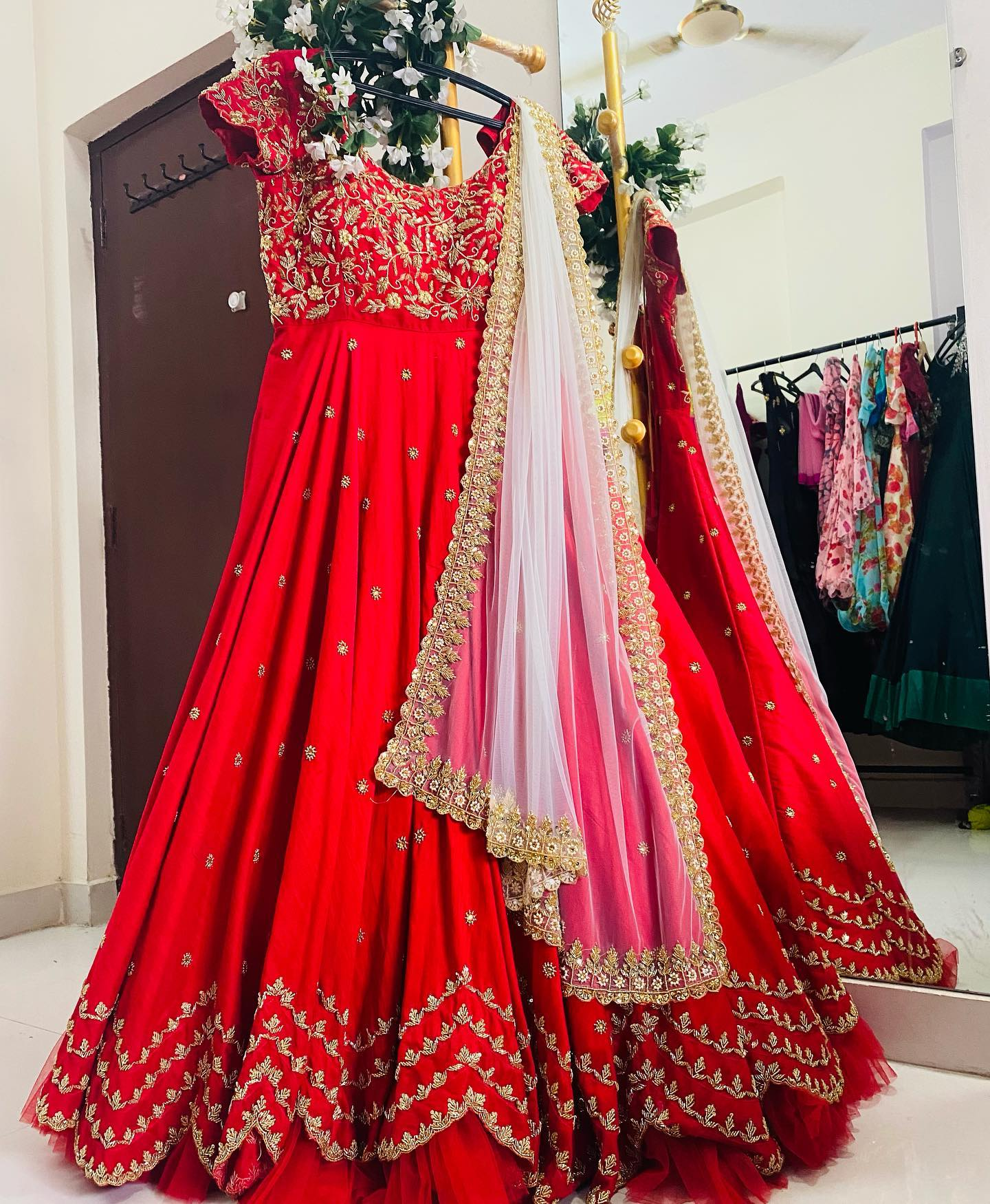 Customised red long gown with zari zardosi all over work 2021-04-01
