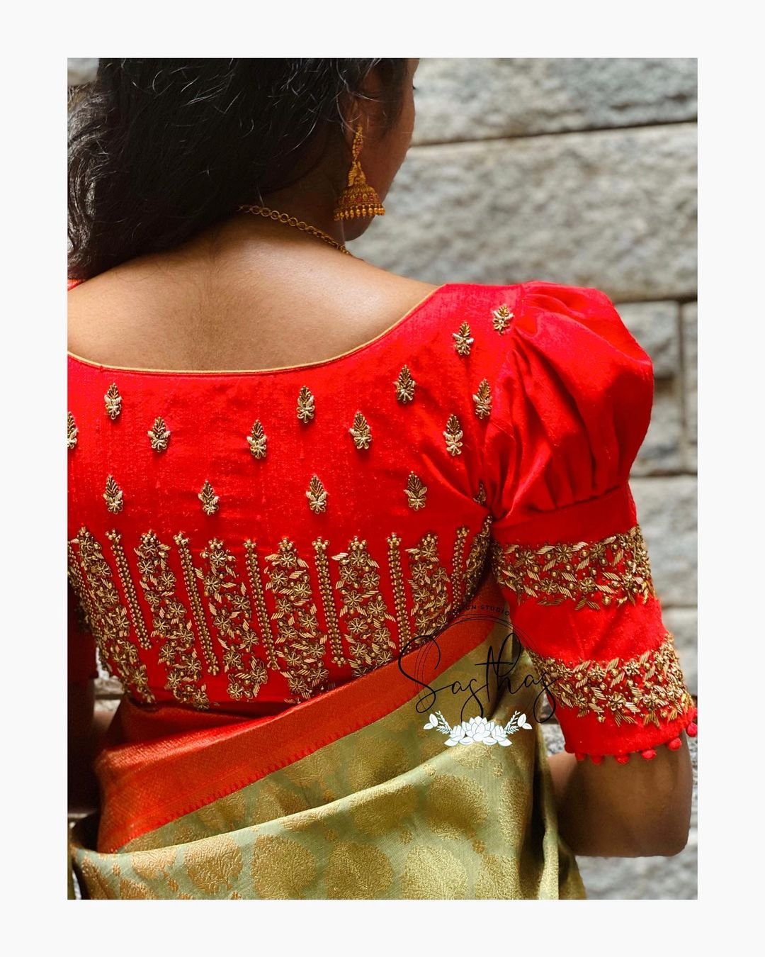 Gorgeous red color puffed sleeve blouse with floral bead mmaggam work. 2021-04-01