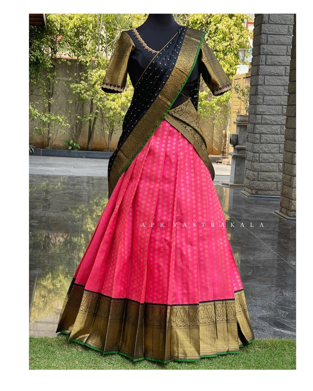Kanchipuram silk..Half saree collection for all traditional functions. Stunning pink color kanchi pattu lehenga and black blouse with pattu dupatta. 2021-04-01