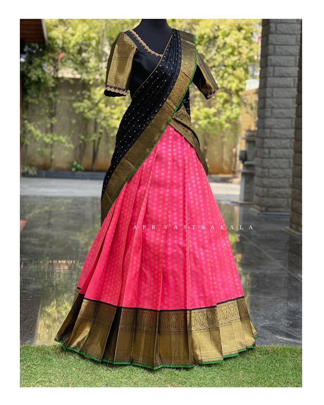Kanchipuram silk..Half saree collection for all traditional functions. Stunning pink color kanchi pattu lehenga and black blouse with pattu dupatta. 2021-04-01