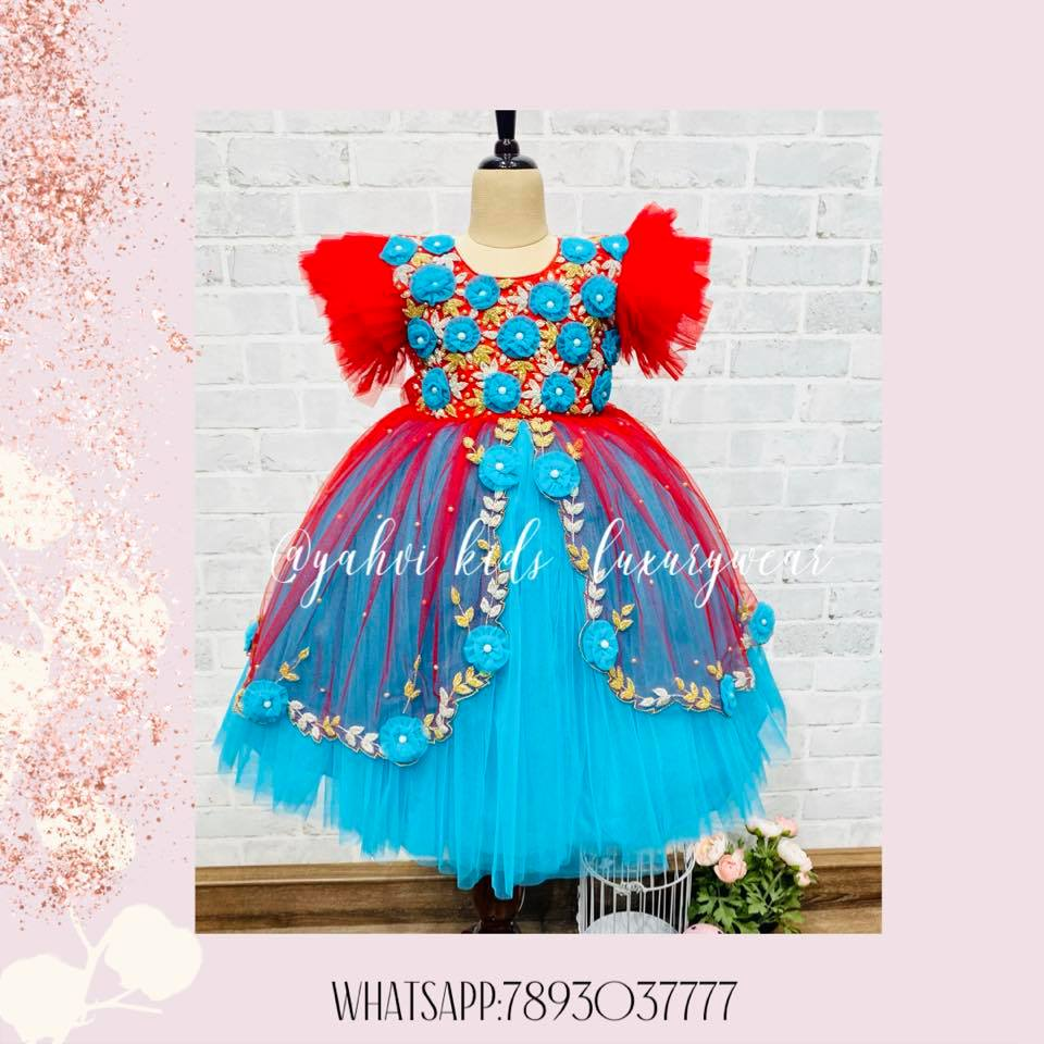 A new look to yahvi wings frock in hand embroidery. Grab this beautiful stunning piece from yahvi in customised colours .