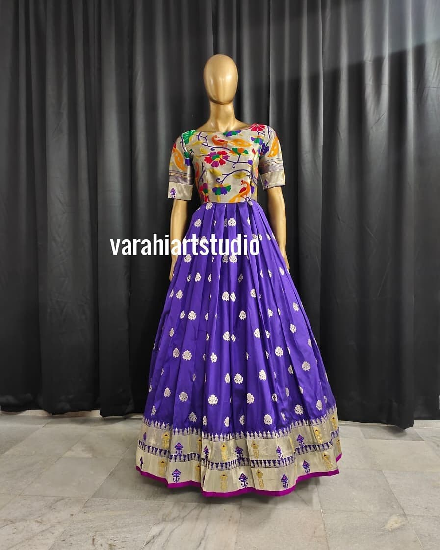 Stunning blue color paithani pattu long frock. This outfit is Available at Rs 5800 from Varahi art studio ..