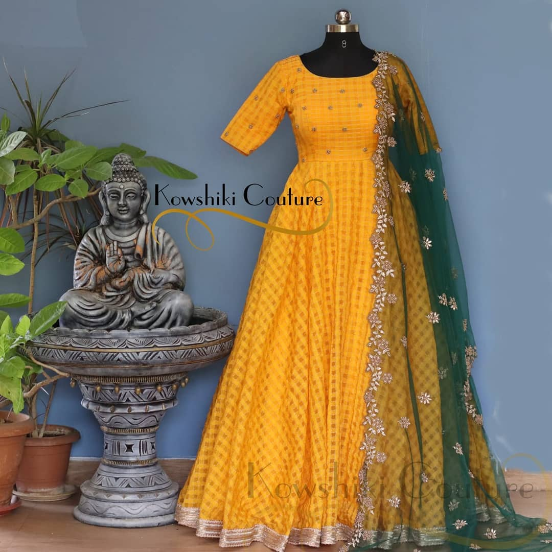 Golden Yellow Long Dress with green net duppatta. Dupatta with cut work. 2021-04-02