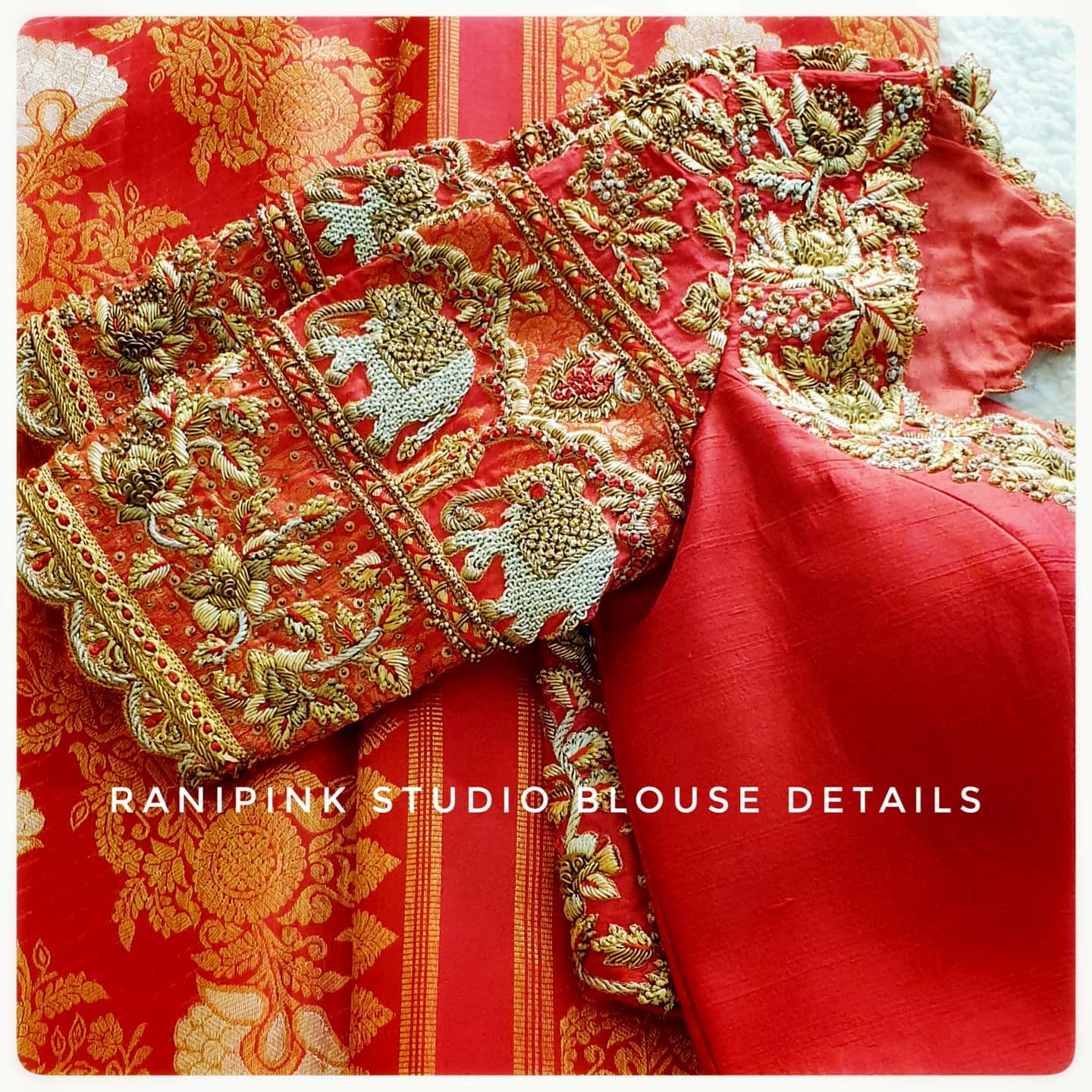 Gorgeous red color wedding bridal blouse with elephant and floral design hand embroidery maggam work.   This amazing Reception Blouse from Rani pink studio is a definite head turner. For appointments call or whatapp  at 8884620620. 2021-04-03