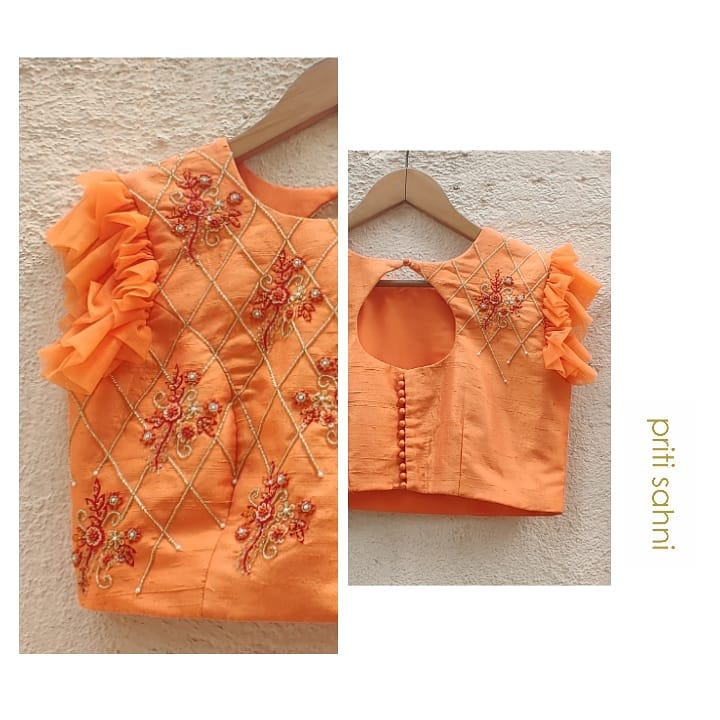 Tangerine Love  Tangerine raw silk thread beads and sequin hand embroidered blouse in ruffled sleeves . 2021-04-03