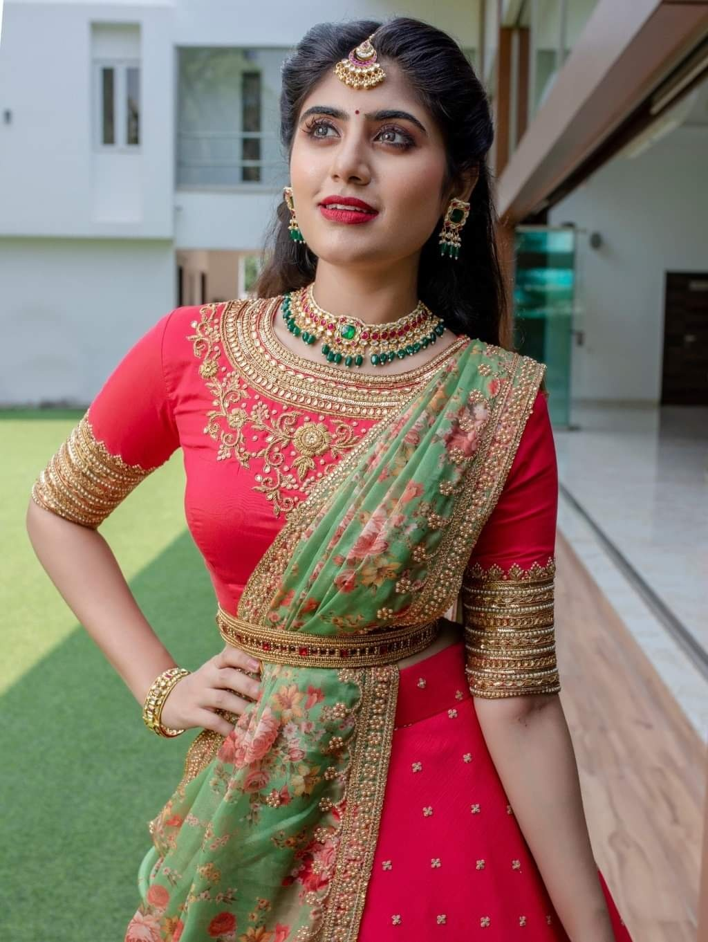 Red Lehenga . . Red hand embroidered Blouse embellished  fullflare skirt finished with border pure organza floral duppata. . For orders and queries please whatsapp  on 9952093562 or Call  at 044 4262 4085. 2021-04-03