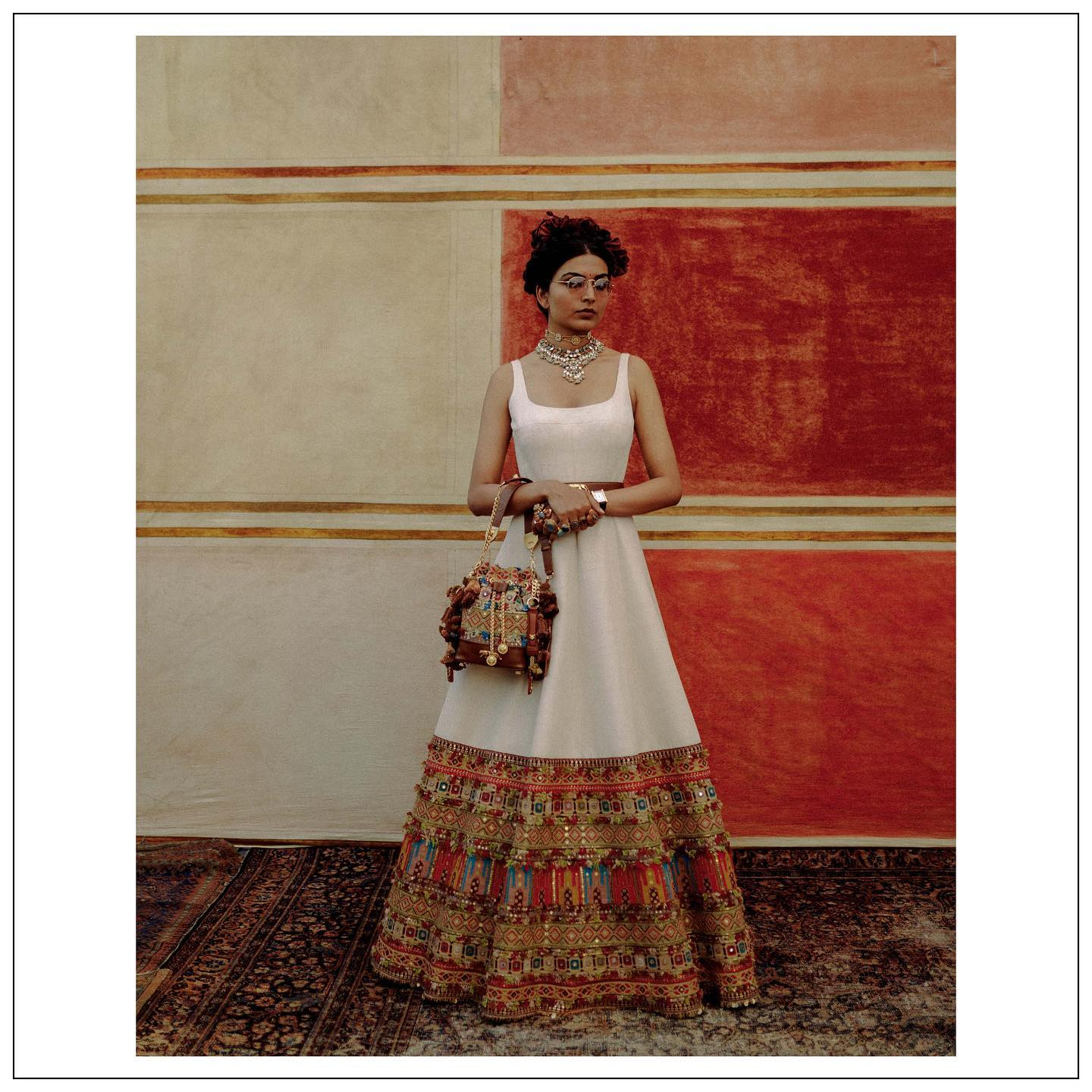 The Sabyasachi 2021 Collection. Beautiful Sabyasachi pearl white long frock with hand embroidery work.  