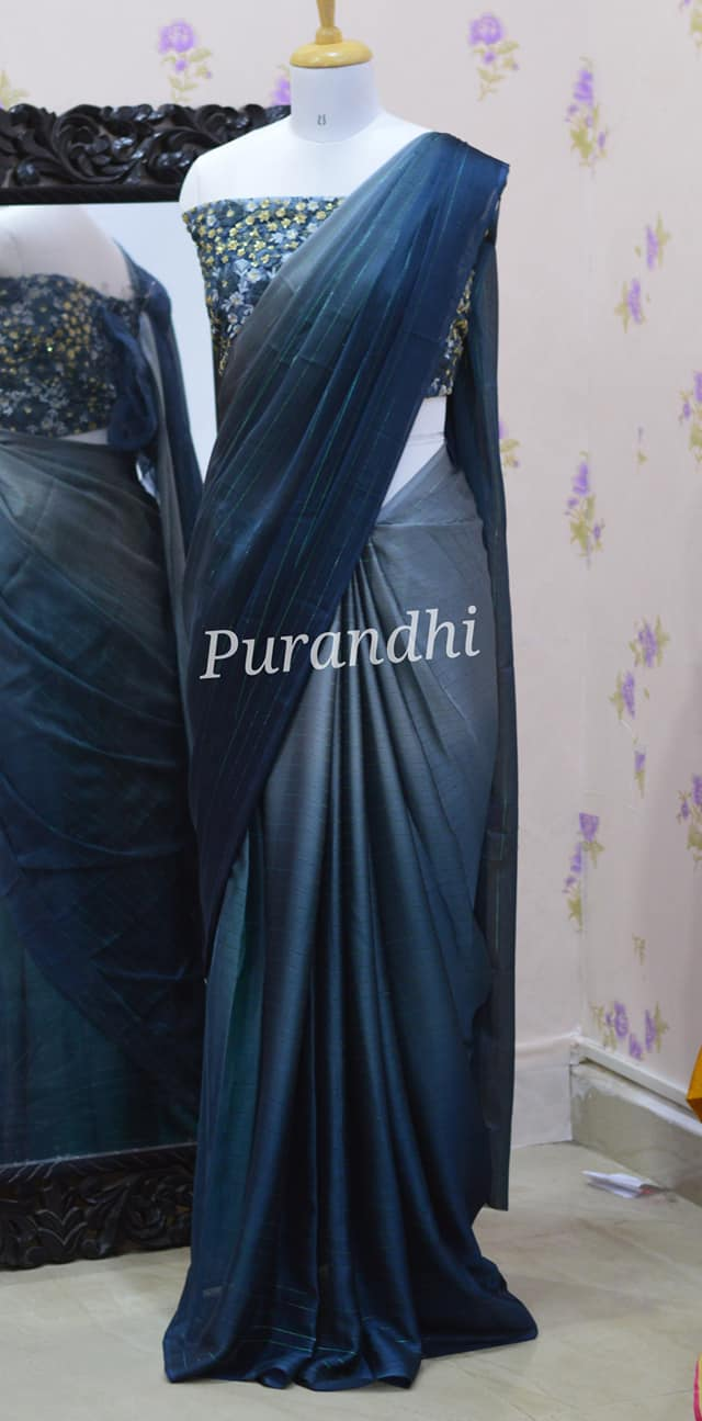 Stunning Peacock blue jari lines chiffon saree with embroidery work blouse. Price : 3200/- To order contact us on whatsapp : 9701673187 2021-04-04