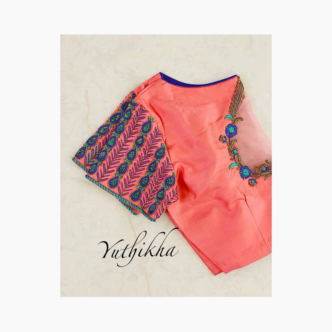Simple & Elegant net embroidery cut work blouse from the house of Yuthikha designer studio!!! For appointments contact 9894231384. 2021-04-04