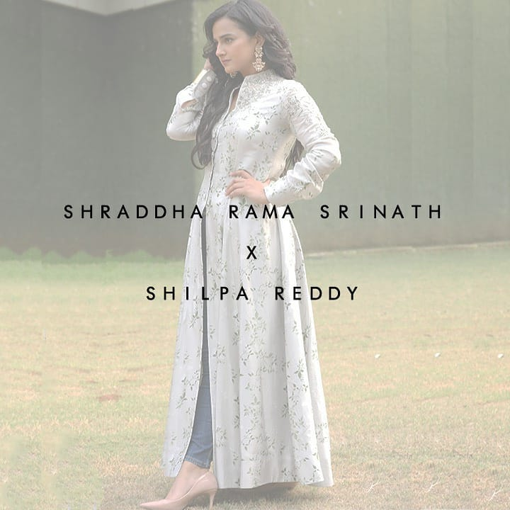 Stunning Shraddha Srinath looks radiant in Shilpa Reddy outfit from the Opulence of Tropical Bloom. She is wearing a Mault pure silk Indo-western tunic with digital print and delicate pearl embroidery that have an understated regal elegance. 2021-04-04