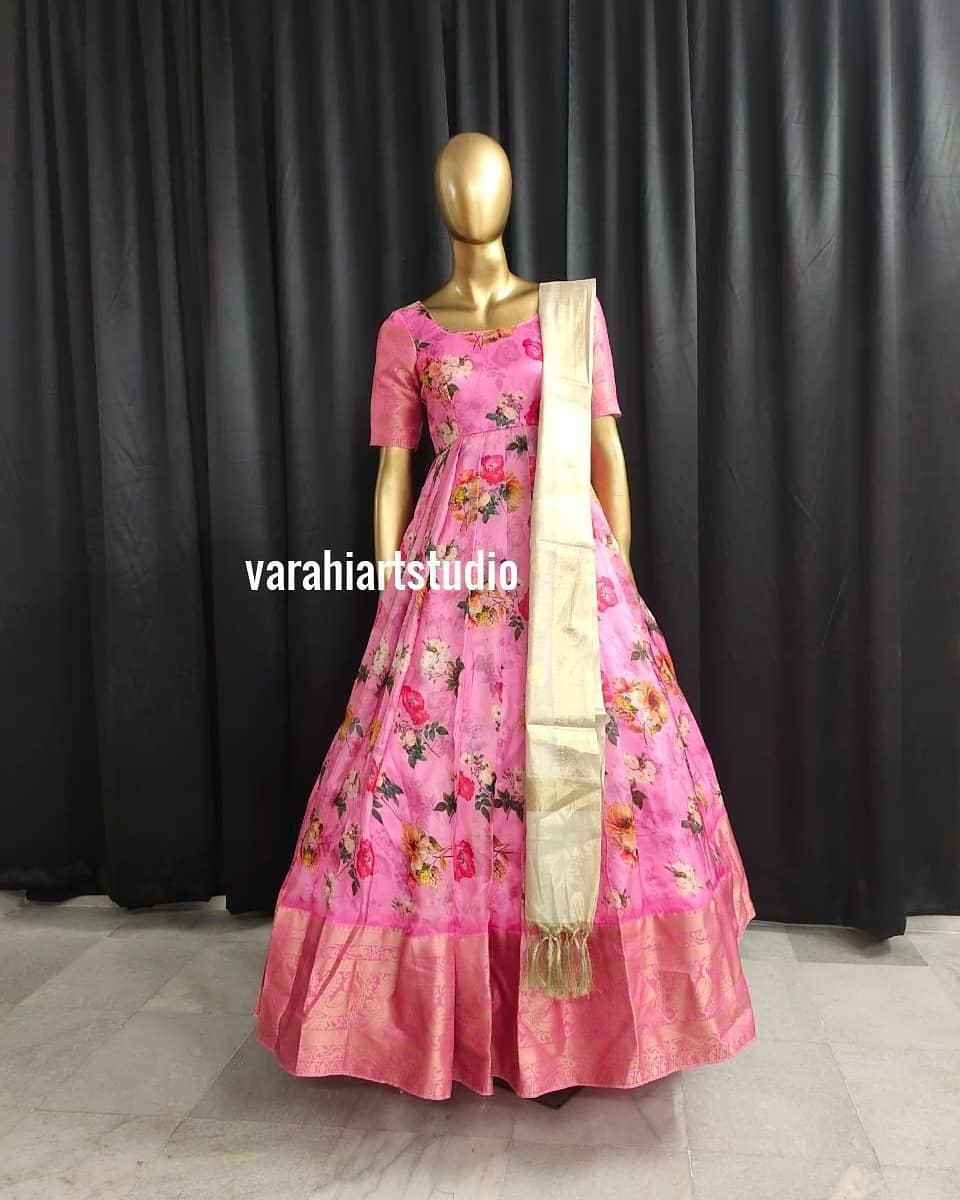 Gorgeous blush pink color floral pattu long frock with pattu dupatta.